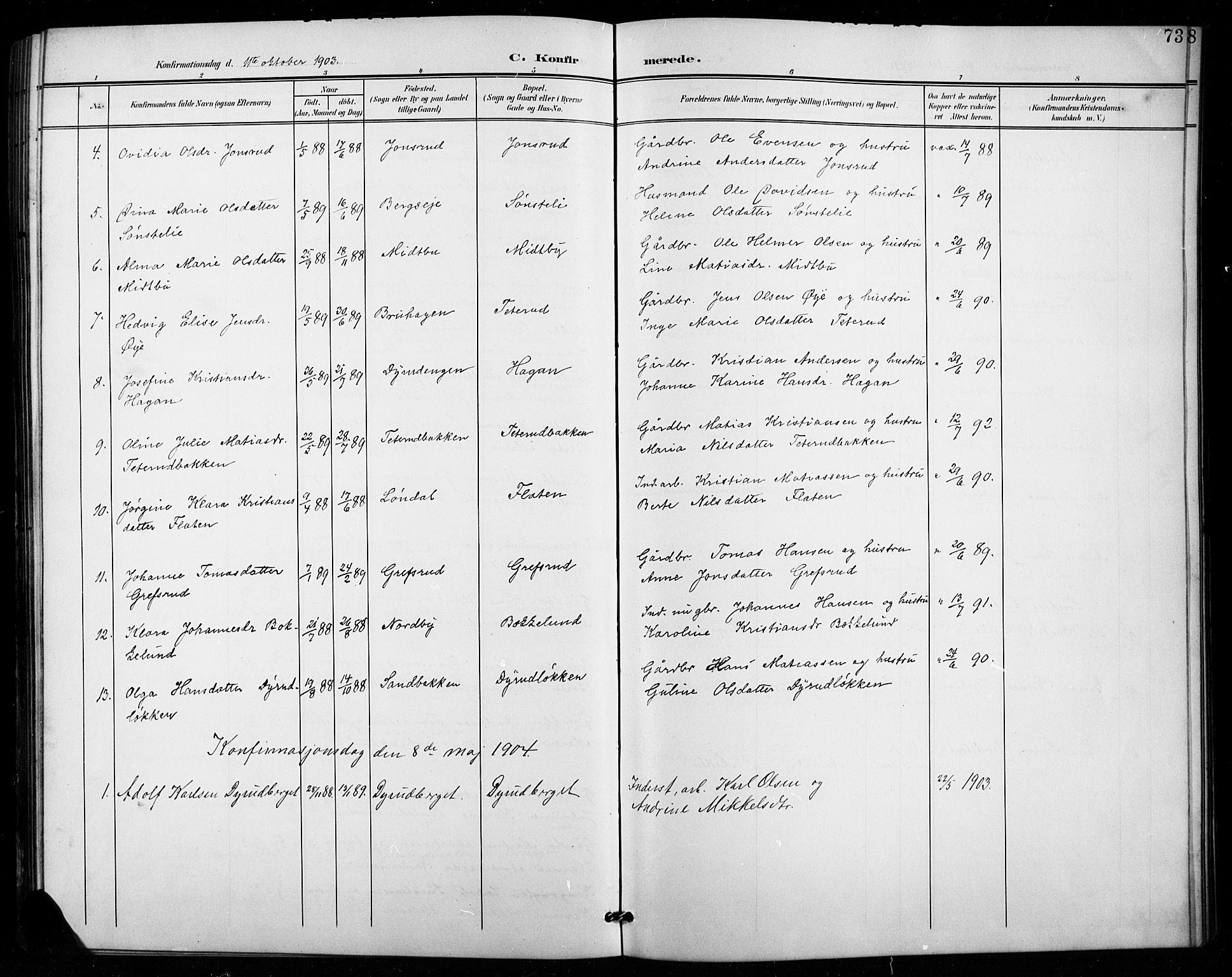 SAH, Vestre Toten prestekontor, H/Ha/Hab/L0016: Klokkerbok nr. 16, 1901-1915, s. 73