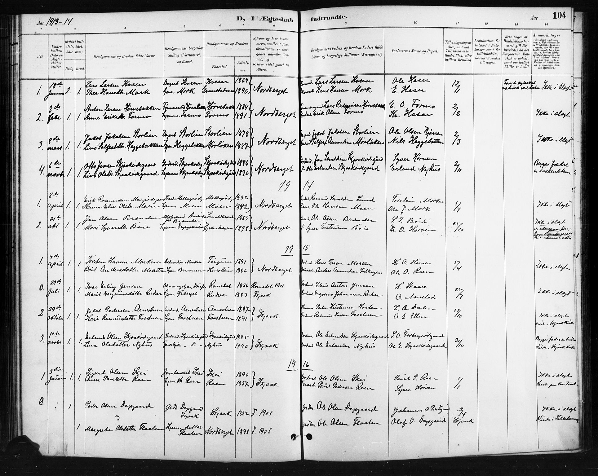 SAH, Skjåk prestekontor, Klokkerbok nr. 4, 1895-1921, s. 104