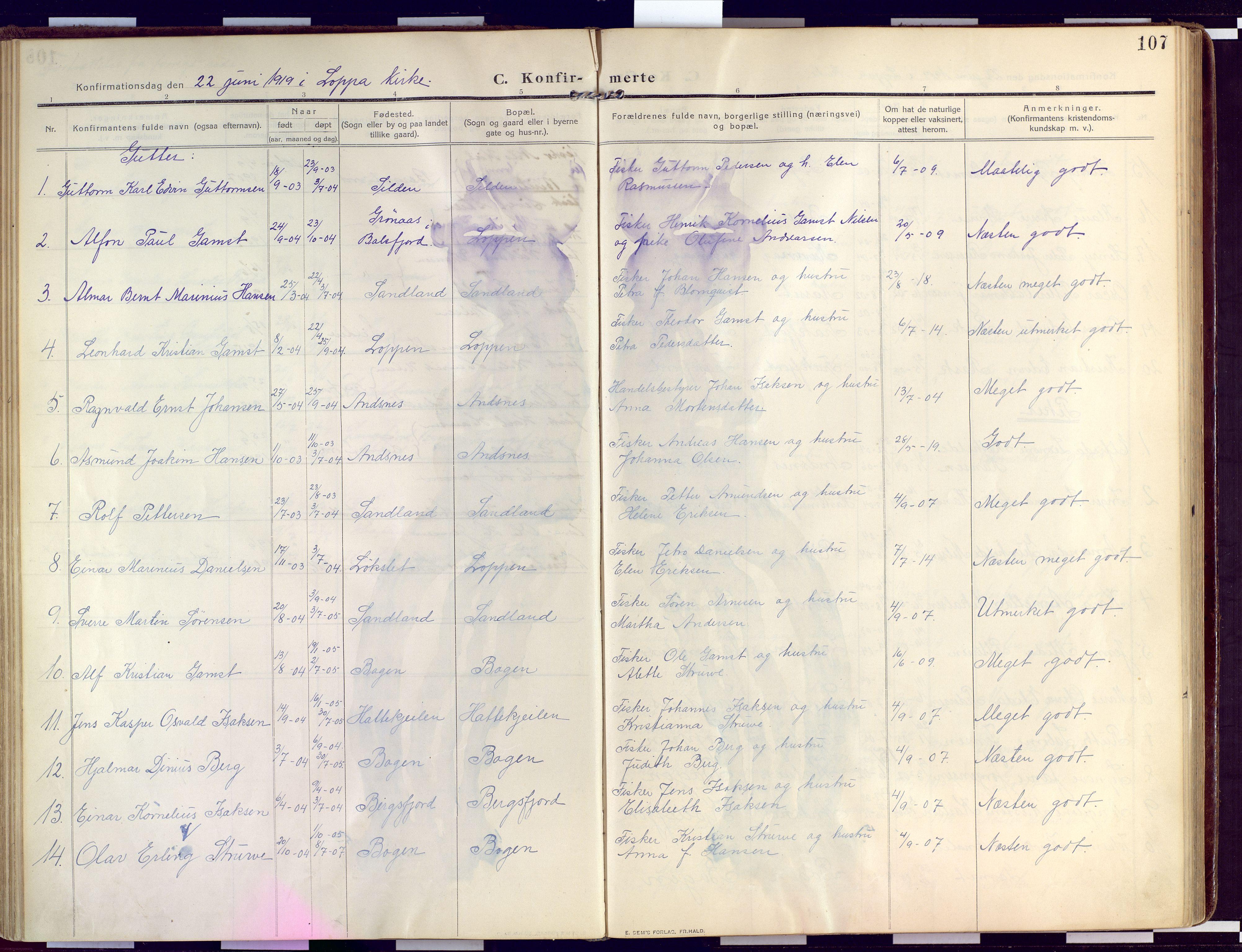 SATØ, Loppa sokneprestkontor, H/Ha/L0011kirke: Ministerialbok nr. 11, 1909-1919, s. 107