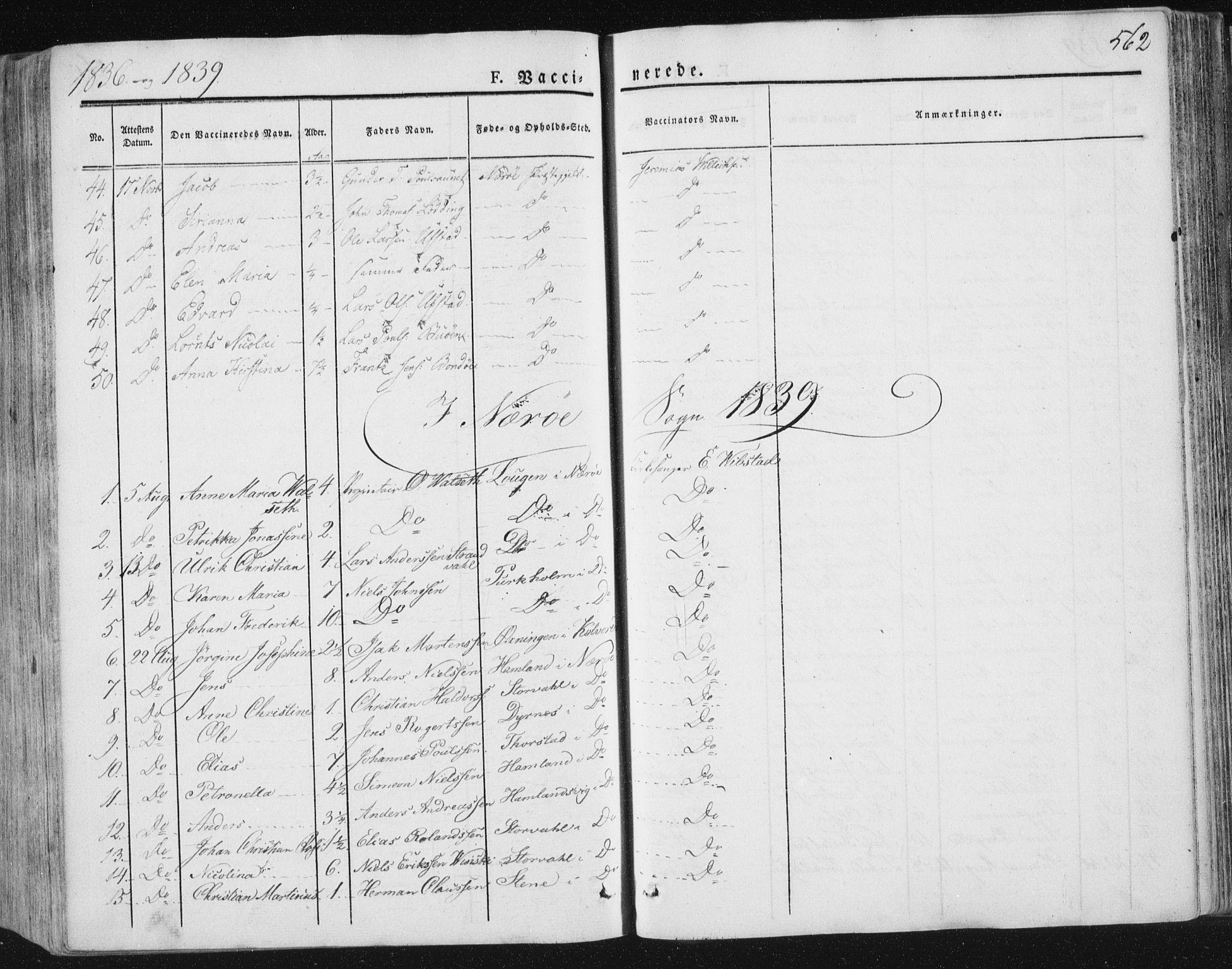 SAT, Ministerialprotokoller, klokkerbøker og fødselsregistre - Nord-Trøndelag, 784/L0669: Ministerialbok nr. 784A04, 1829-1859, s. 562