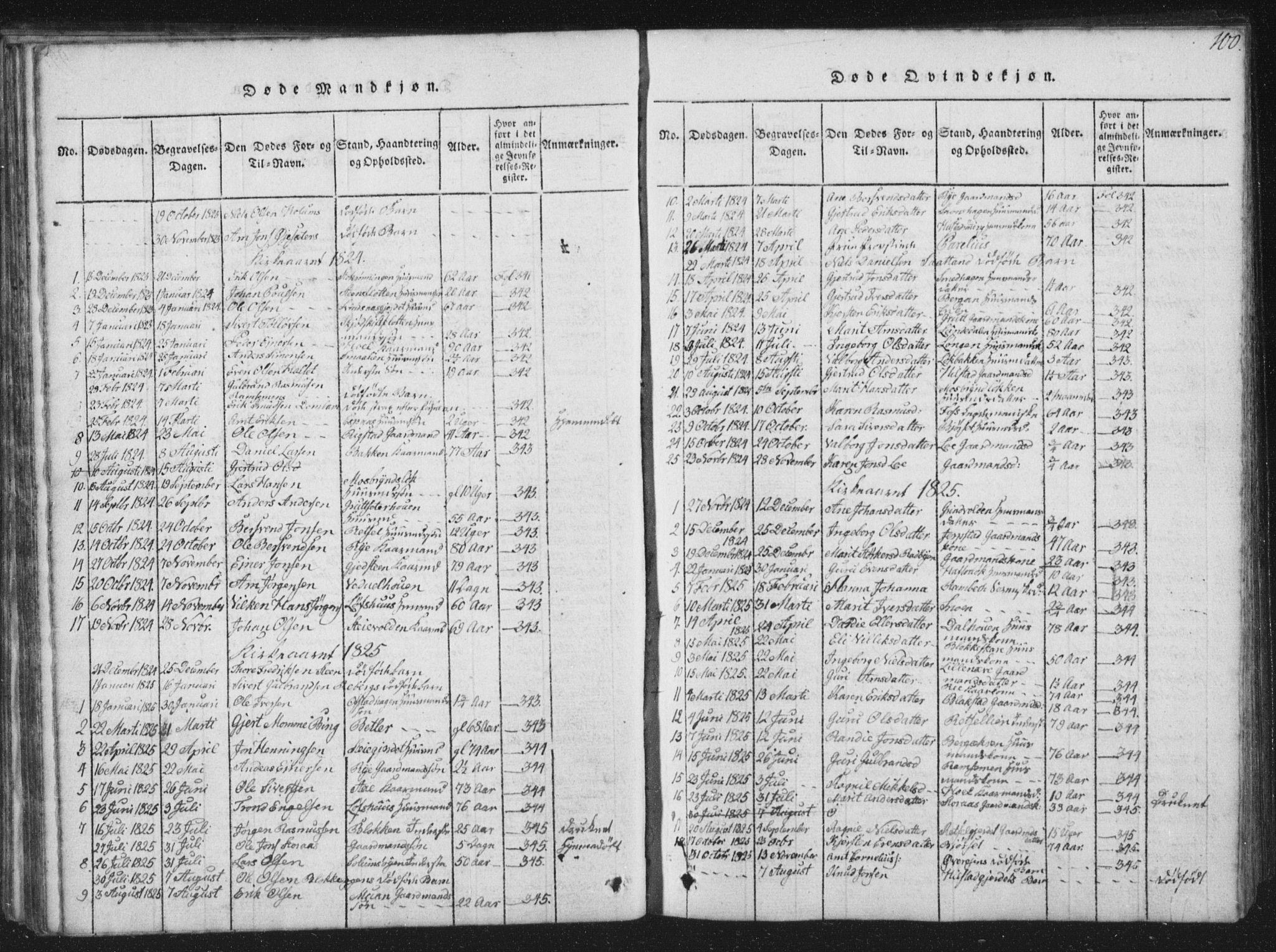SAT, Ministerialprotokoller, klokkerbøker og fødselsregistre - Sør-Trøndelag, 672/L0862: Klokkerbok nr. 672C01, 1816-1831, s. 100