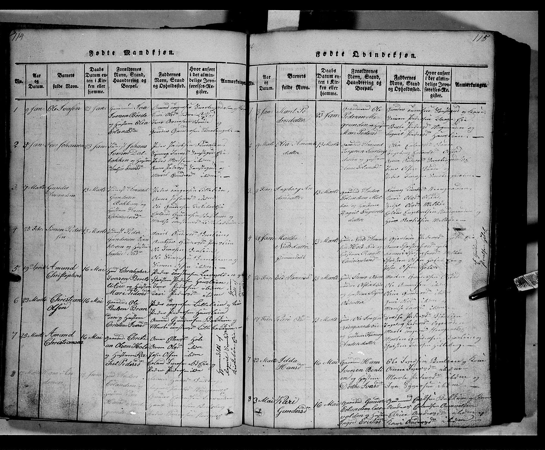 SAH, Gausdal prestekontor, Klokkerbok nr. 2, 1818-1874, s. 114-115