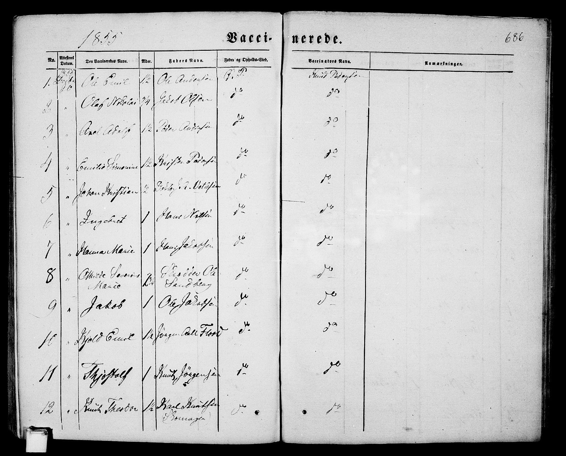 SAKO, Porsgrunn kirkebøker , G/Gb/L0004: Klokkerbok nr. II 4, 1853-1882, s. 686