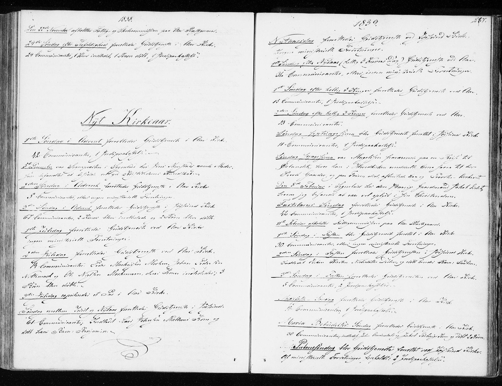 SAT, Ministerialprotokoller, klokkerbøker og fødselsregistre - Sør-Trøndelag, 655/L0676: Ministerialbok nr. 655A05, 1830-1847, s. 287
