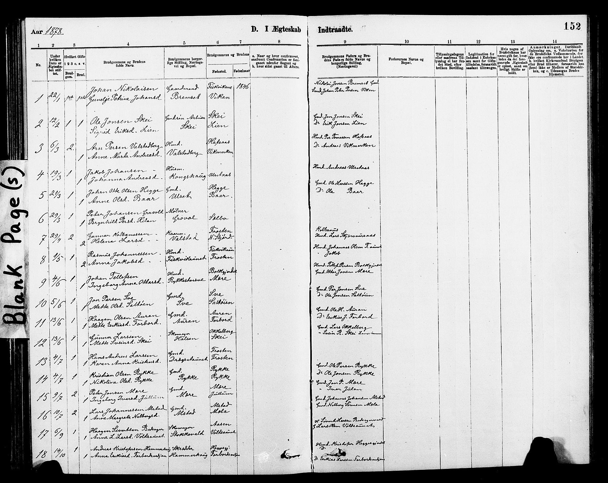 SAT, Ministerialprotokoller, klokkerbøker og fødselsregistre - Nord-Trøndelag, 712/L0103: Klokkerbok nr. 712C01, 1878-1917, s. 152