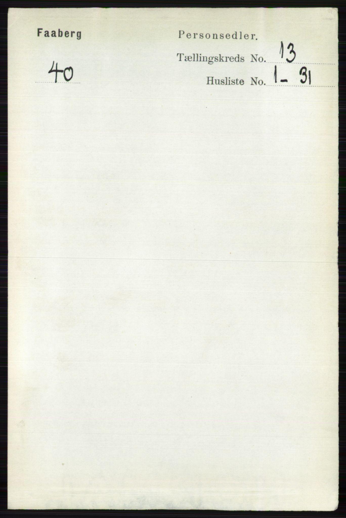 RA, Folketelling 1891 for 0524 Fåberg herred, 1891, s. 5244