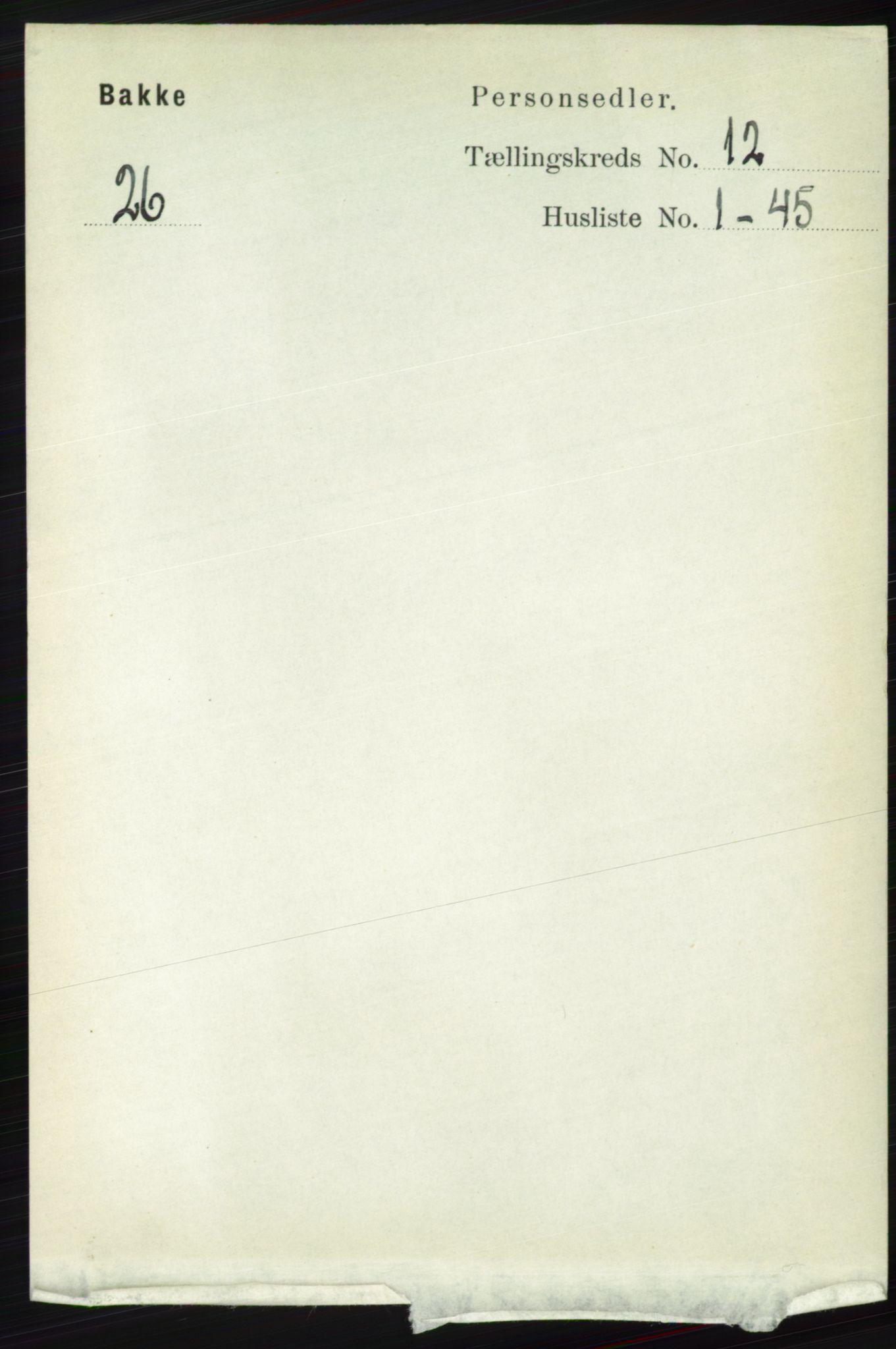 RA, Folketelling 1891 for 1045 Bakke herred, 1891, s. 2427