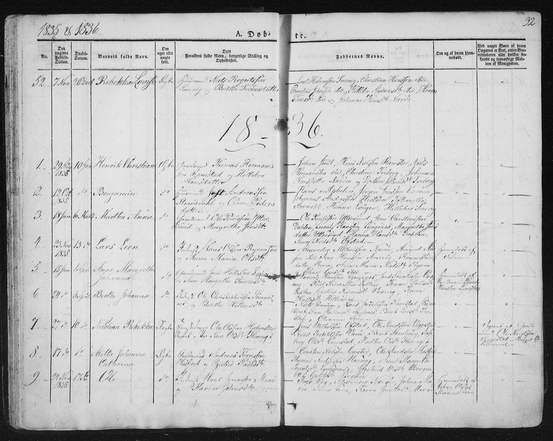 SAT, Ministerialprotokoller, klokkerbøker og fødselsregistre - Nord-Trøndelag, 784/L0669: Ministerialbok nr. 784A04, 1829-1859, s. 32