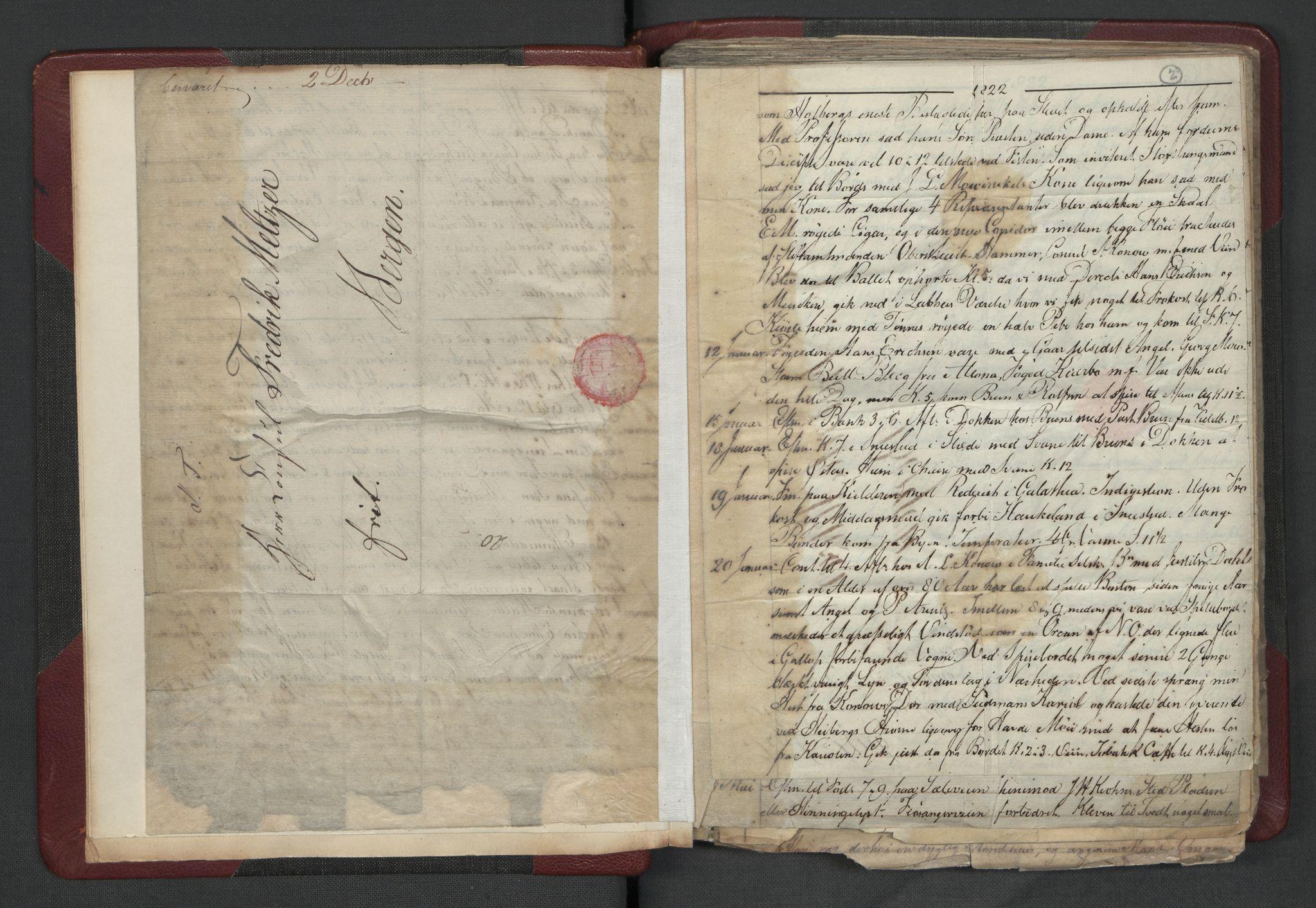 RA, Meltzer, Fredrik, F/L0003: Dagbok, 1821-1831, s. 1b-2a