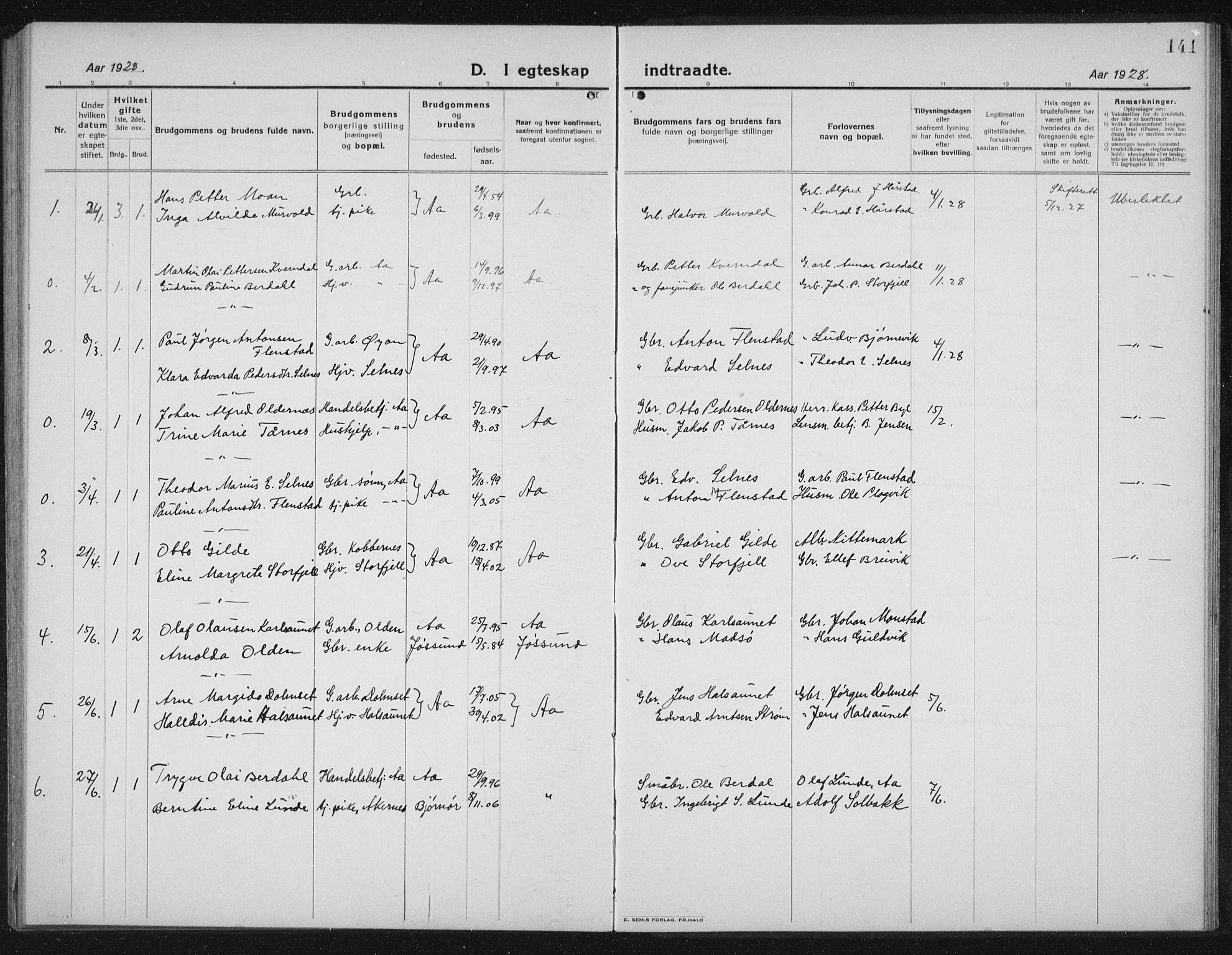 SAT, Ministerialprotokoller, klokkerbøker og fødselsregistre - Sør-Trøndelag, 655/L0689: Klokkerbok nr. 655C05, 1922-1936, s. 141