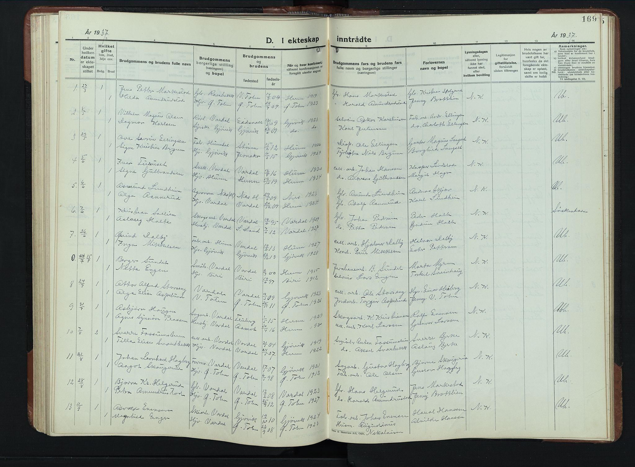 SAH, Vardal prestekontor, H/Ha/Hab/L0023: Klokkerbok nr. 23, 1929-1941, s. 169