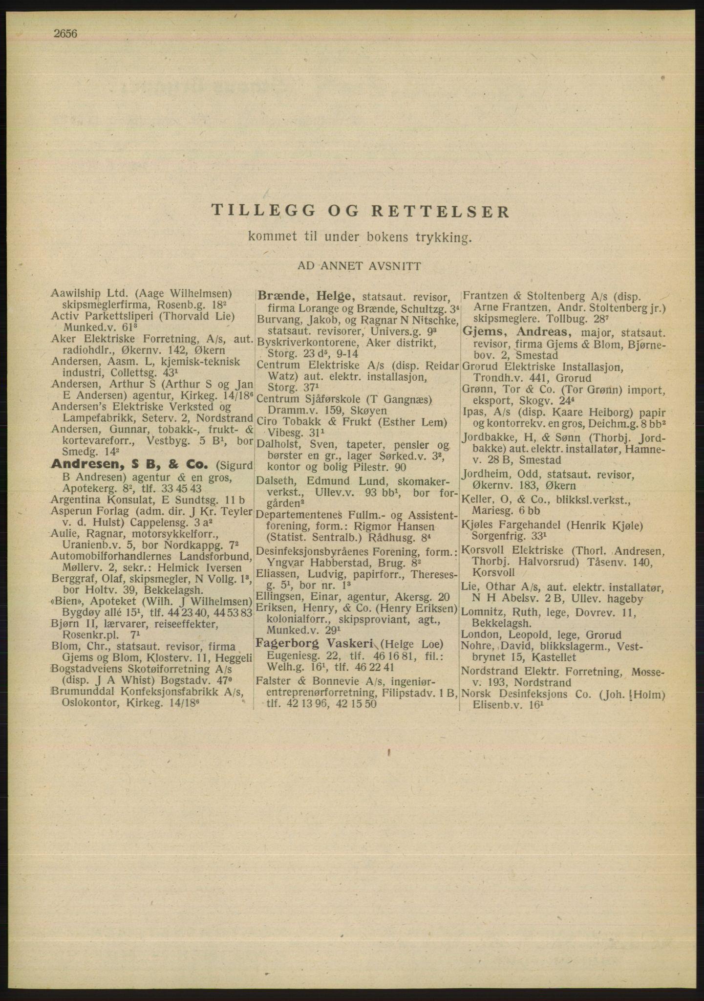 RA, Oslo adressebok (publikasjon)*, 1948, s. 2656