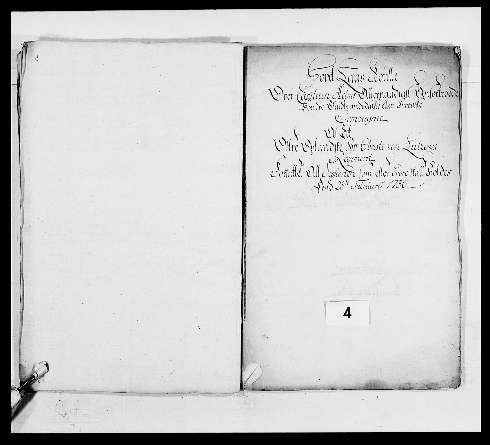 RA, Kommanderende general (KG I) med Det norske krigsdirektorium, E/Ea/L0502: 1. Opplandske regiment, 1720-1743, s. 33