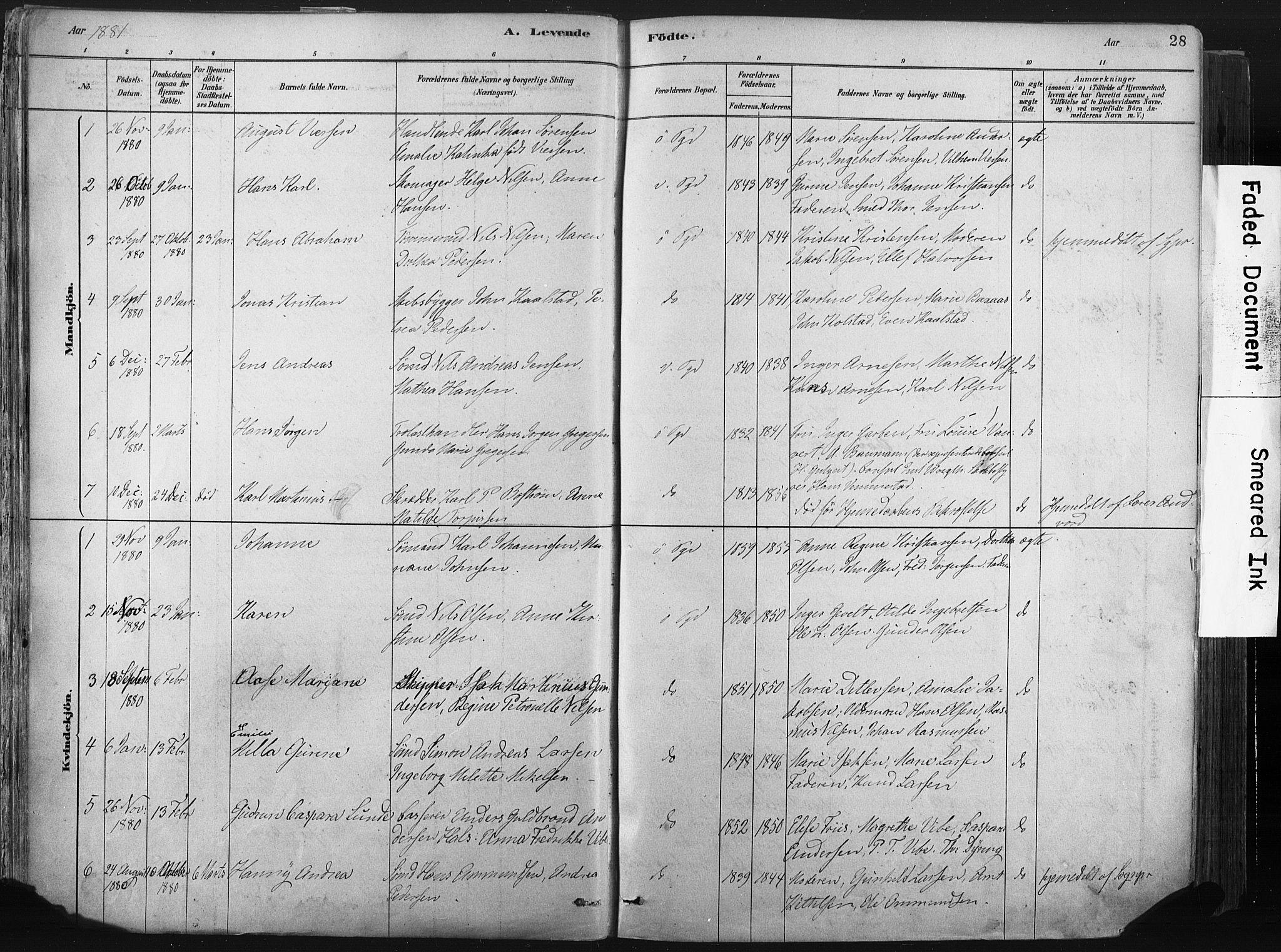 SAKO, Porsgrunn kirkebøker , F/Fa/L0008: Ministerialbok nr. 8, 1878-1895, s. 28