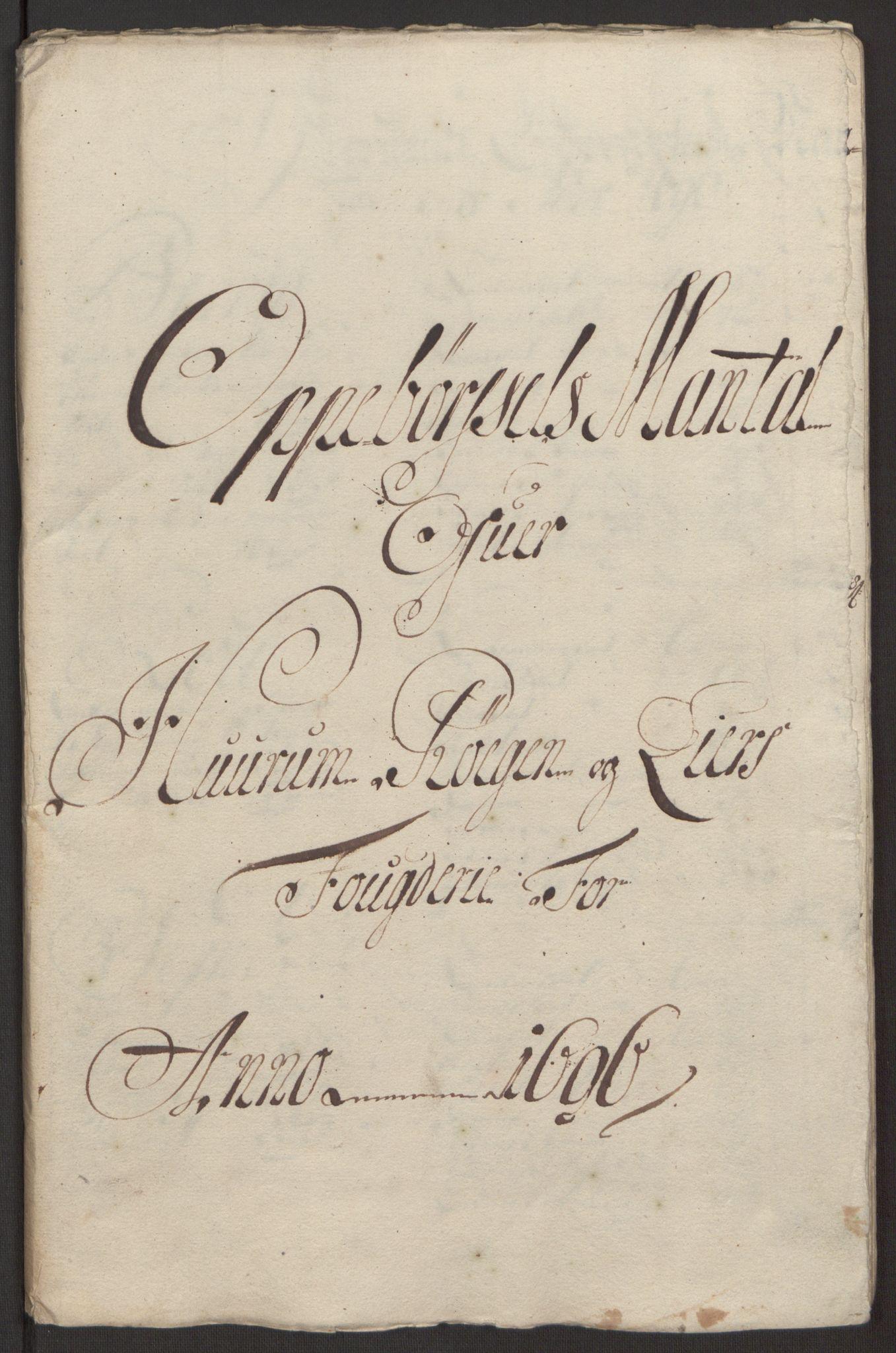 RA, Rentekammeret inntil 1814, Reviderte regnskaper, Fogderegnskap, R30/L1694: Fogderegnskap Hurum, Røyken, Eiker og Lier, 1694-1696, s. 338