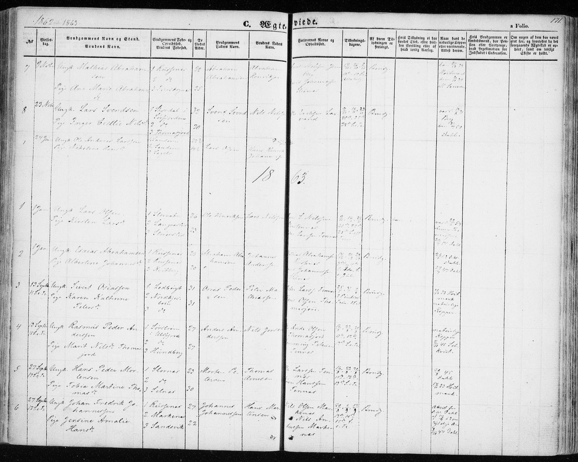 SATØ, Balsfjord sokneprestembete, G/Ga/L0003kirke: Ministerialbok nr. 3, 1856-1870, s. 171
