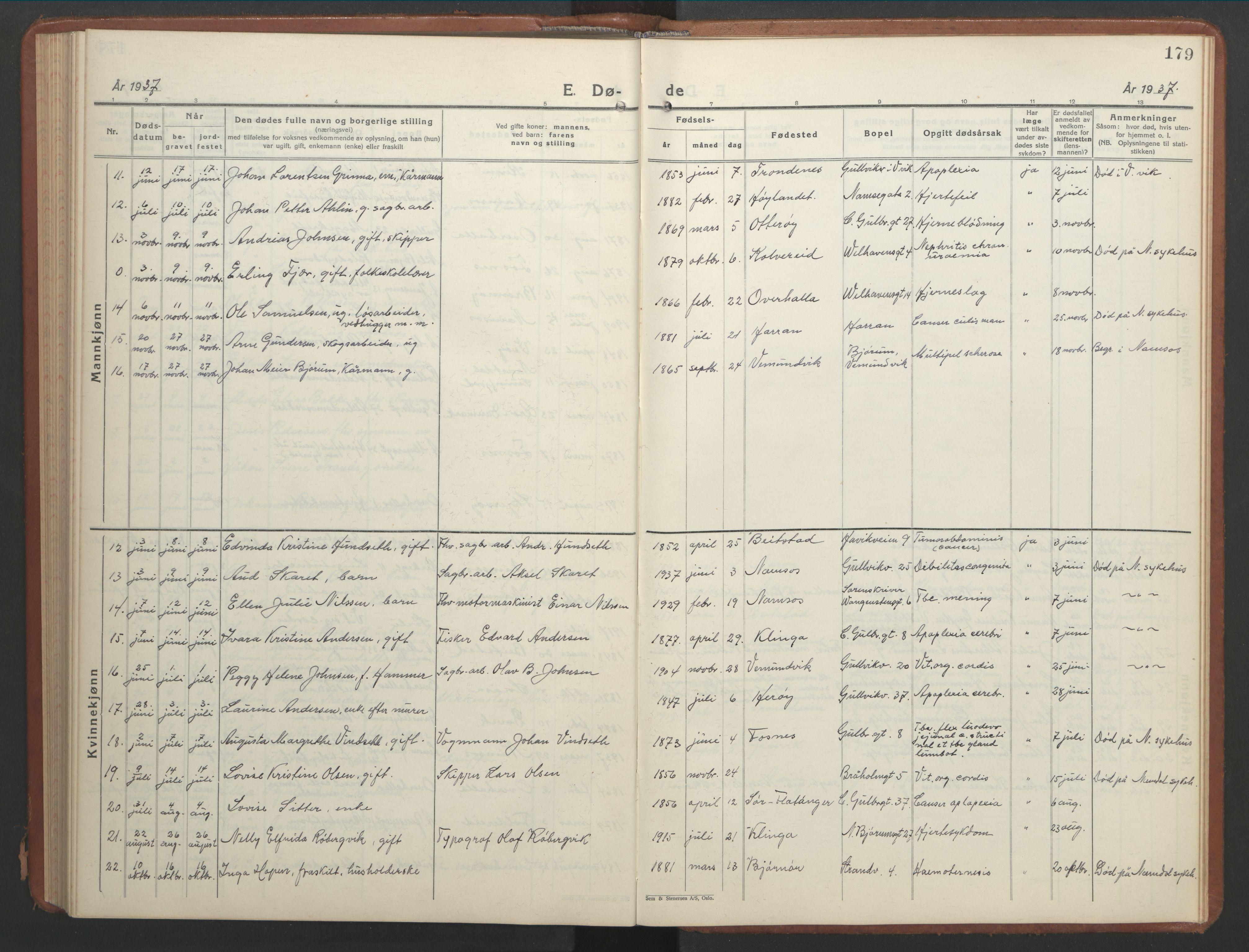 SAT, Ministerialprotokoller, klokkerbøker og fødselsregistre - Nord-Trøndelag, 768/L0583: Klokkerbok nr. 768C01, 1928-1953, s. 179