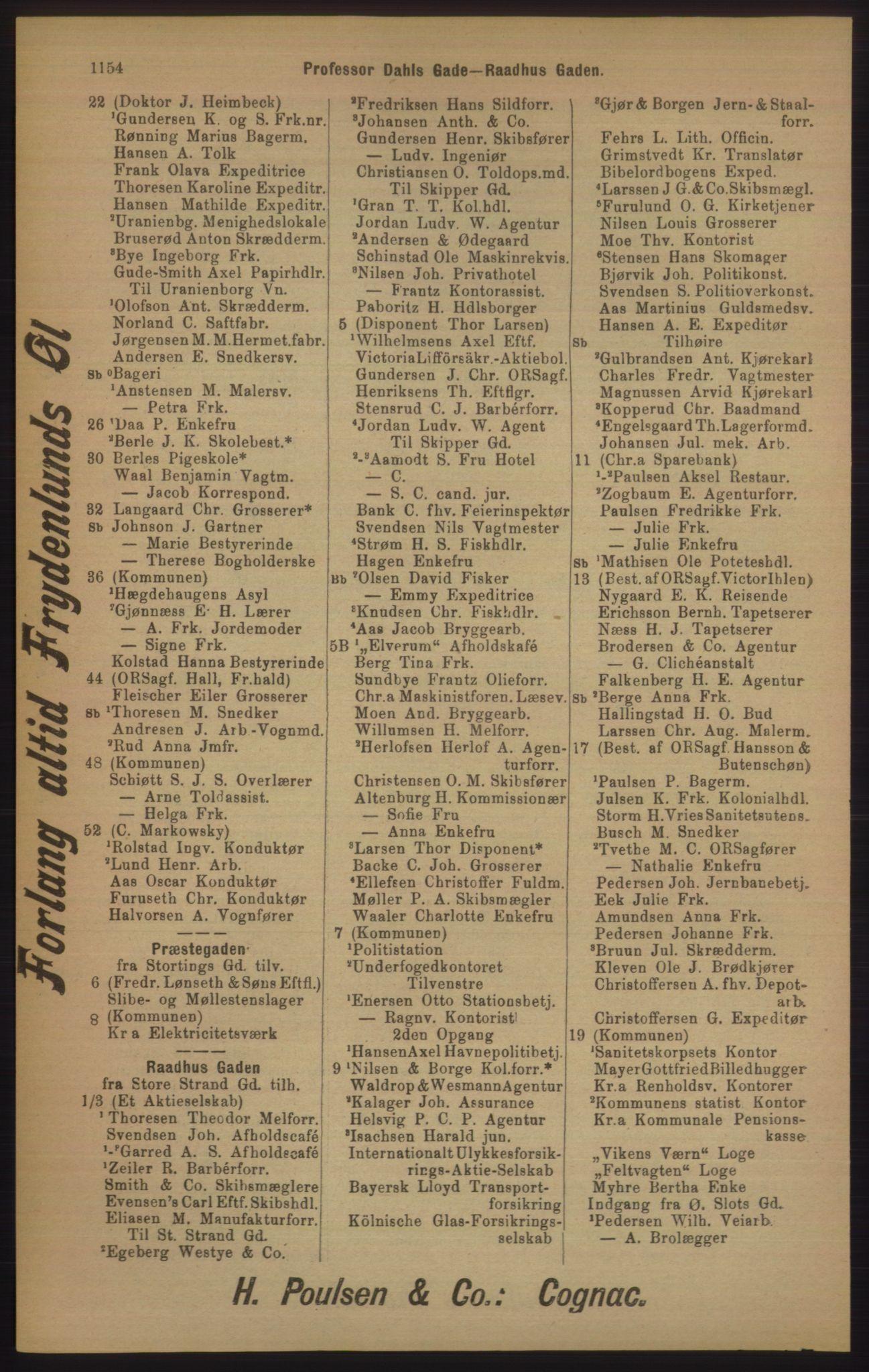 RA, Kristiania adressebok (publikasjon)*, 1905, s. 1154