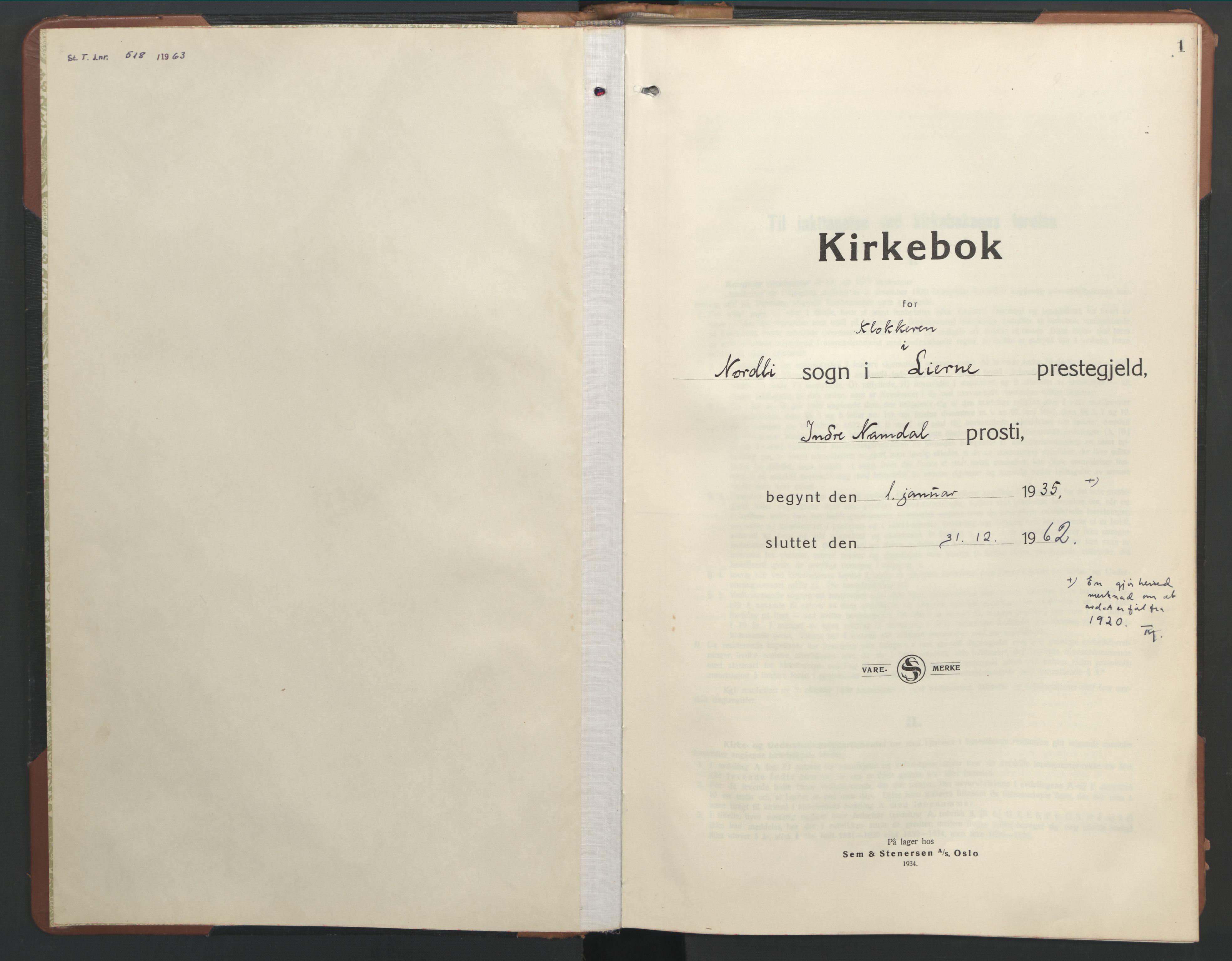 SAT, Ministerialprotokoller, klokkerbøker og fødselsregistre - Nord-Trøndelag, 755/L0500: Klokkerbok nr. 755C01, 1920-1962, s. 1