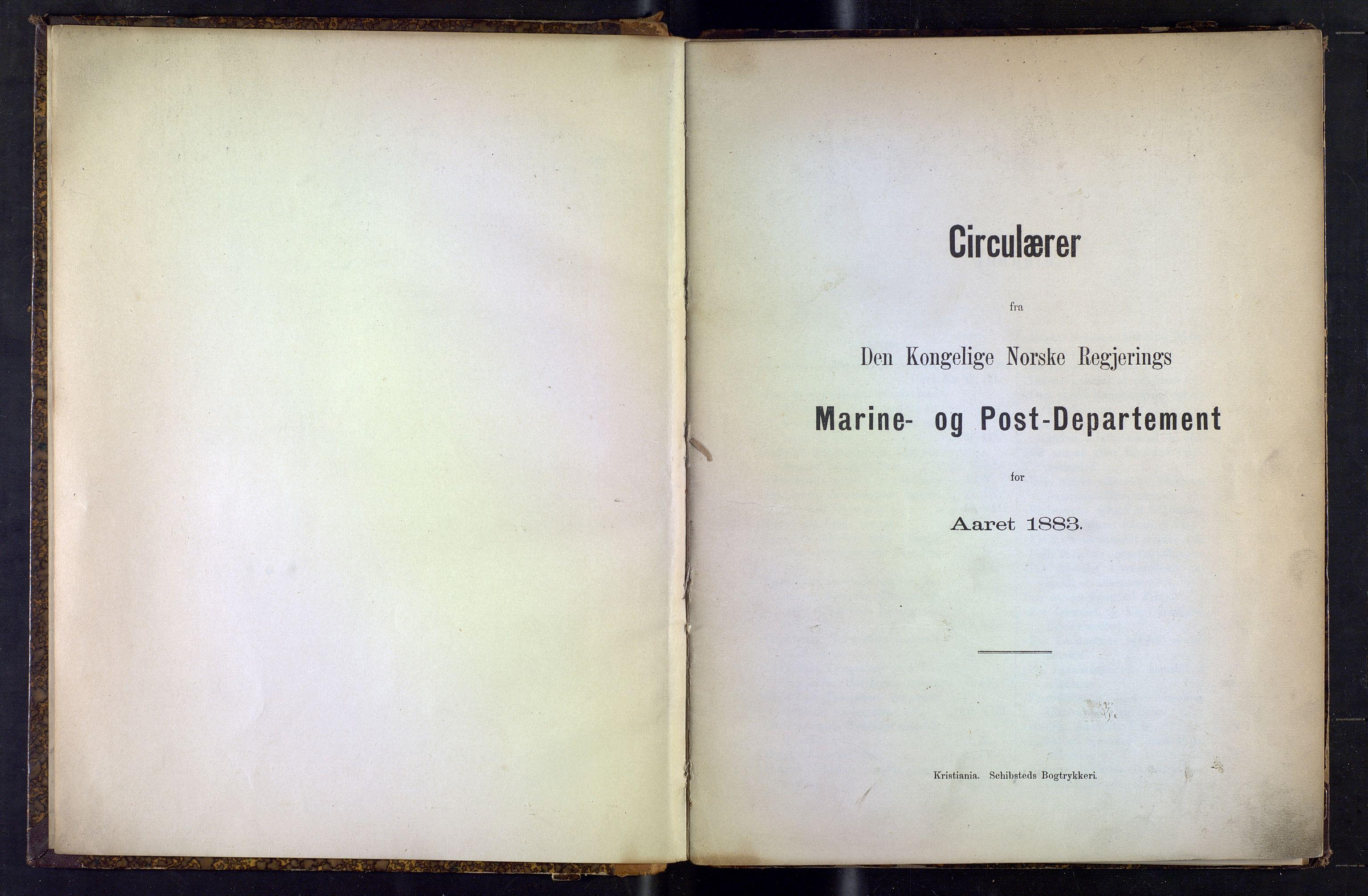NOPO, Norges Postmuseums bibliotek, -/-: Sirkulærer fra Den Kongelige Norske Regjerings Marine- og Postdepartement, 1883