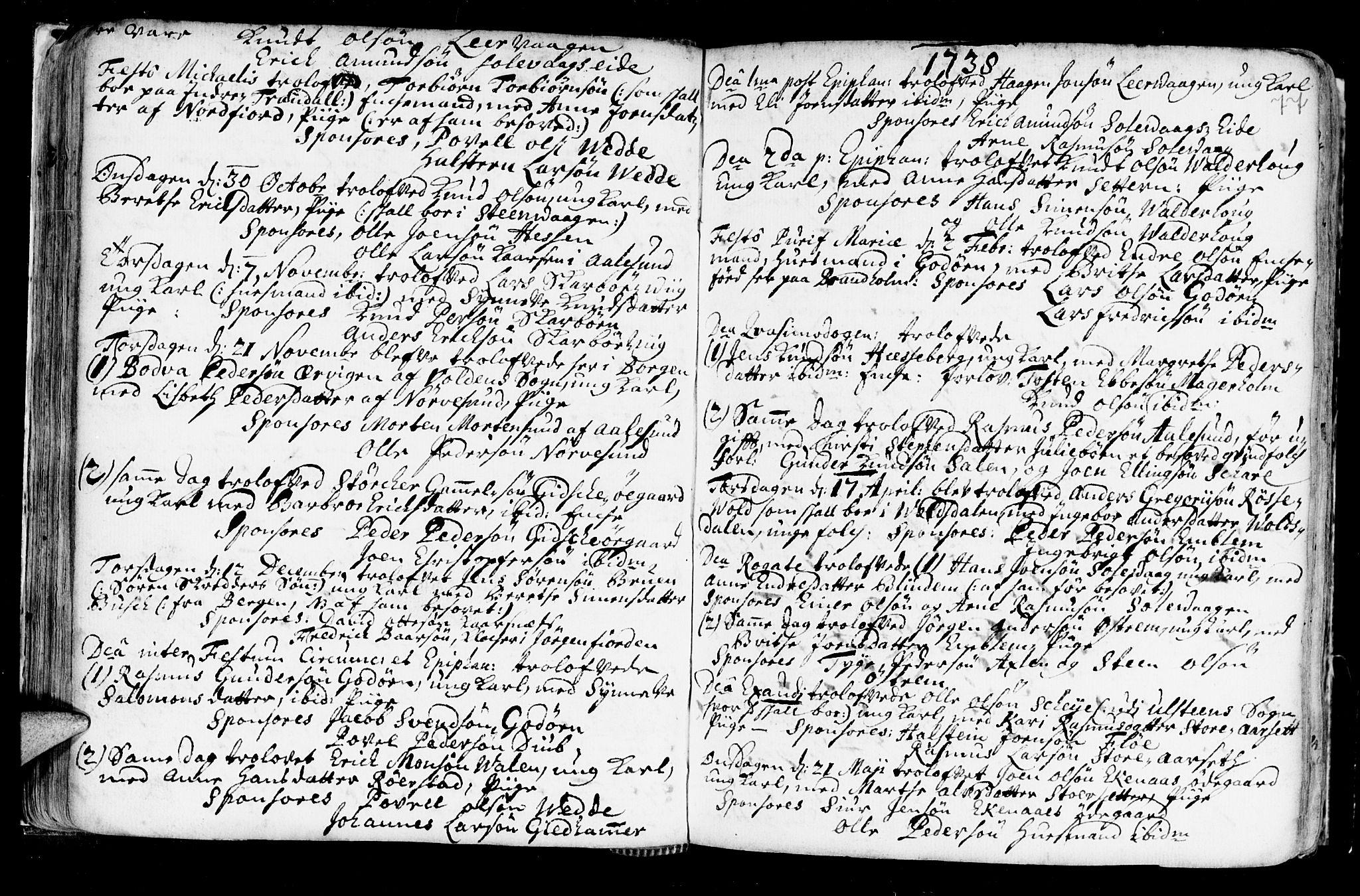 SAT, Ministerialprotokoller, klokkerbøker og fødselsregistre - Møre og Romsdal, 528/L0390: Ministerialbok nr. 528A01, 1698-1739, s. 76-77