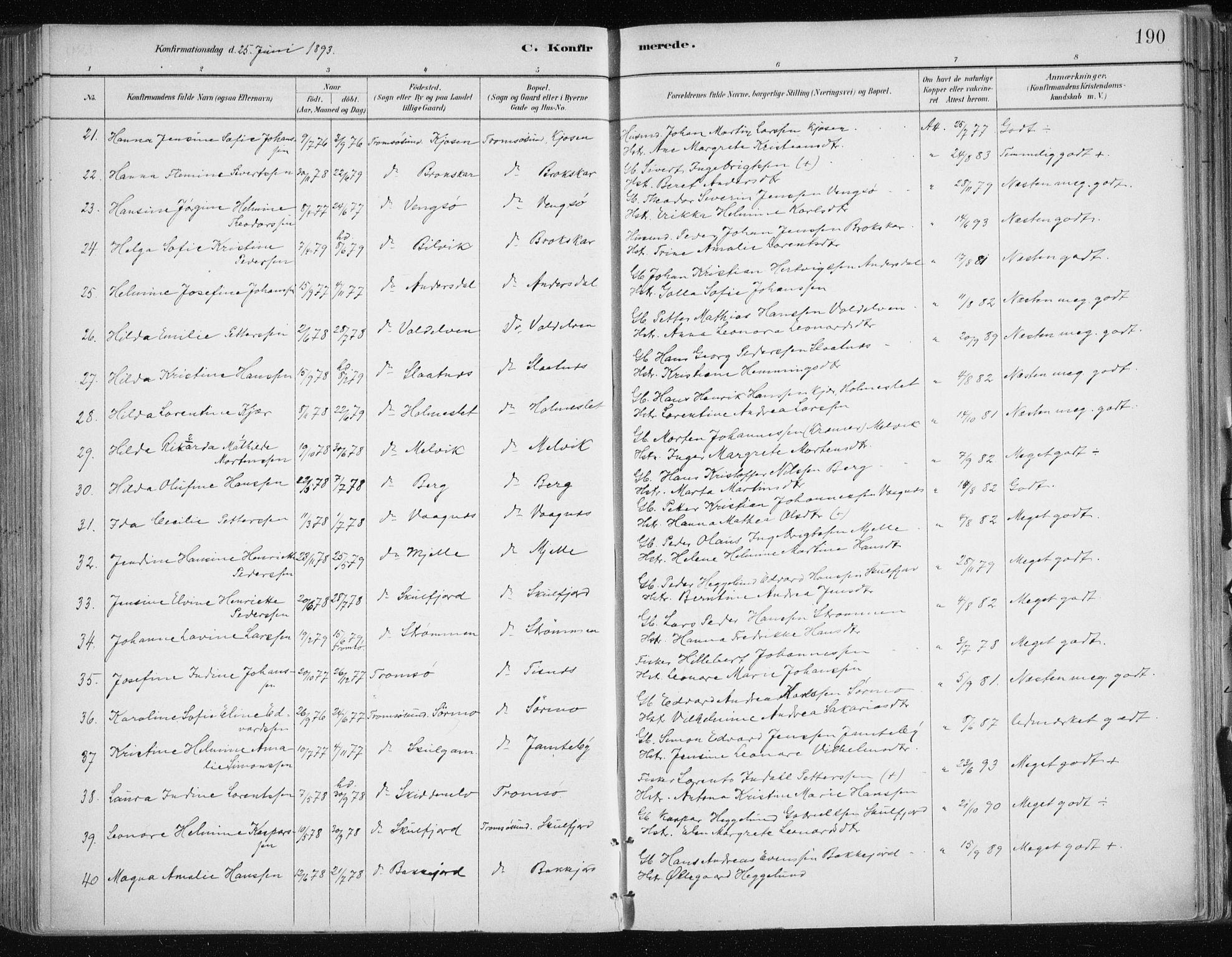 SATØ, Tromsøysund sokneprestkontor, G/Ga/L0005kirke: Ministerialbok nr. 5, 1888-1896, s. 190