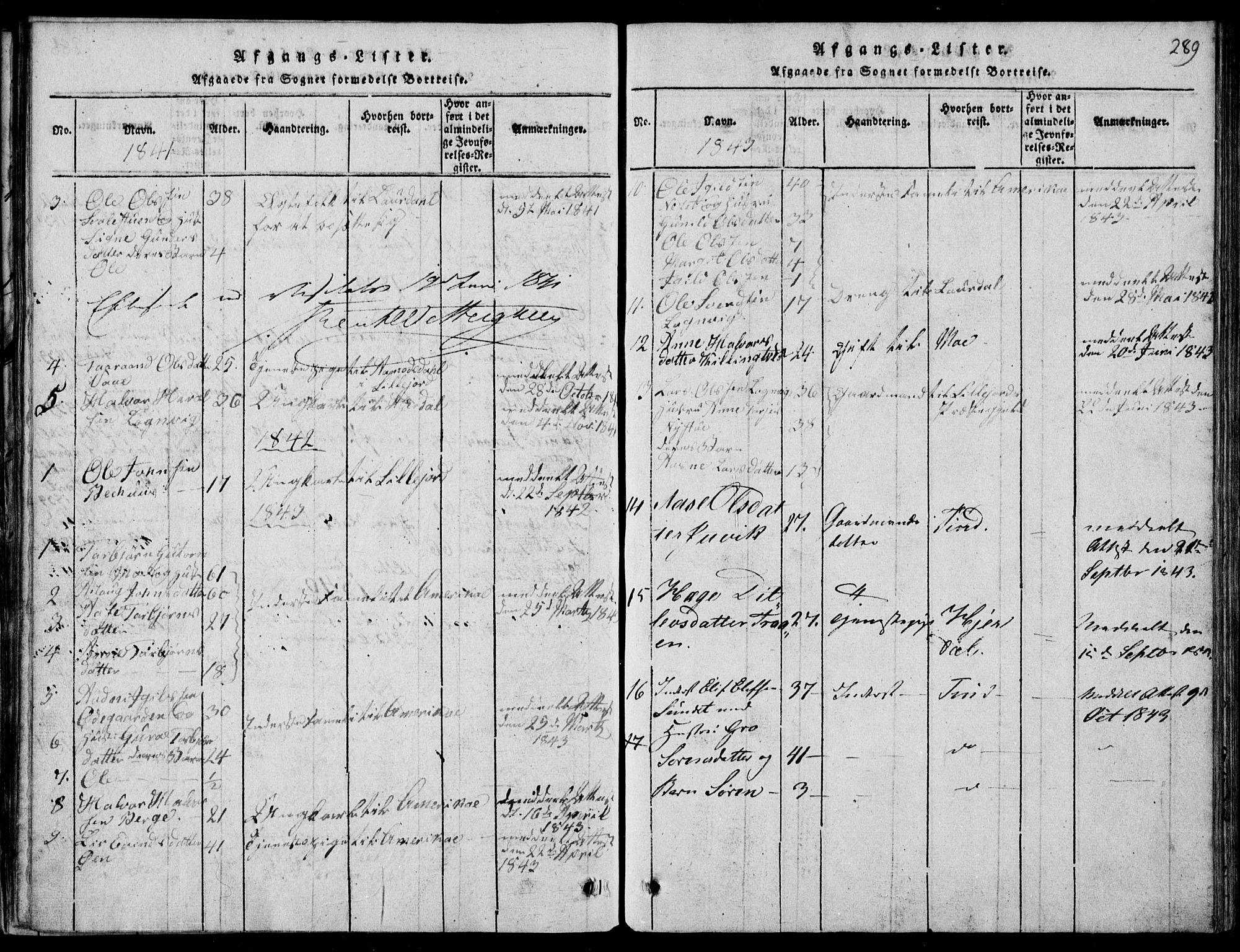 SAKO, Rauland kirkebøker, G/Ga/L0001: Klokkerbok nr. I 1, 1814-1843, s. 289