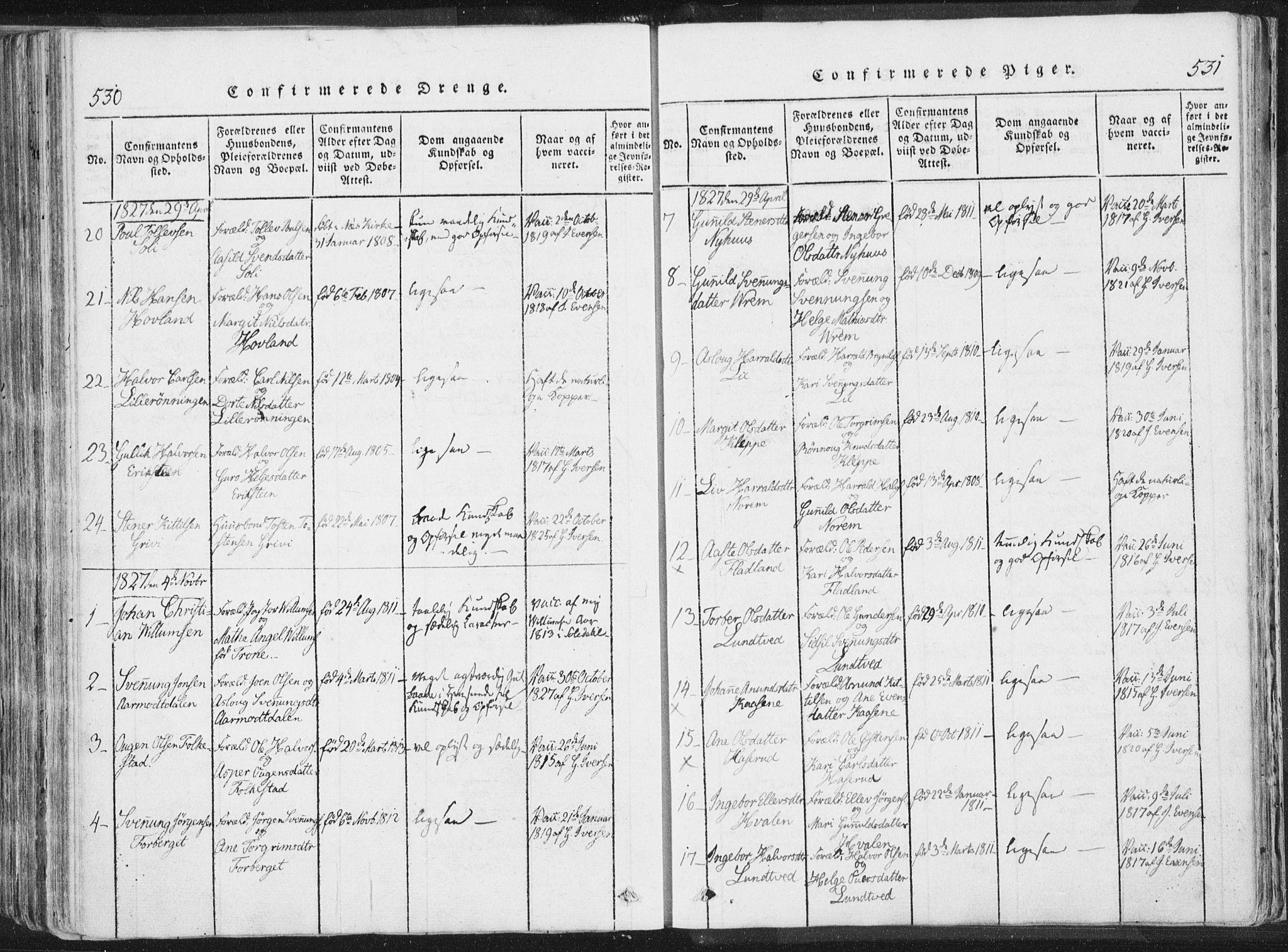 SAKO, Bø kirkebøker, F/Fa/L0006: Ministerialbok nr. 6, 1815-1831, s. 530-531