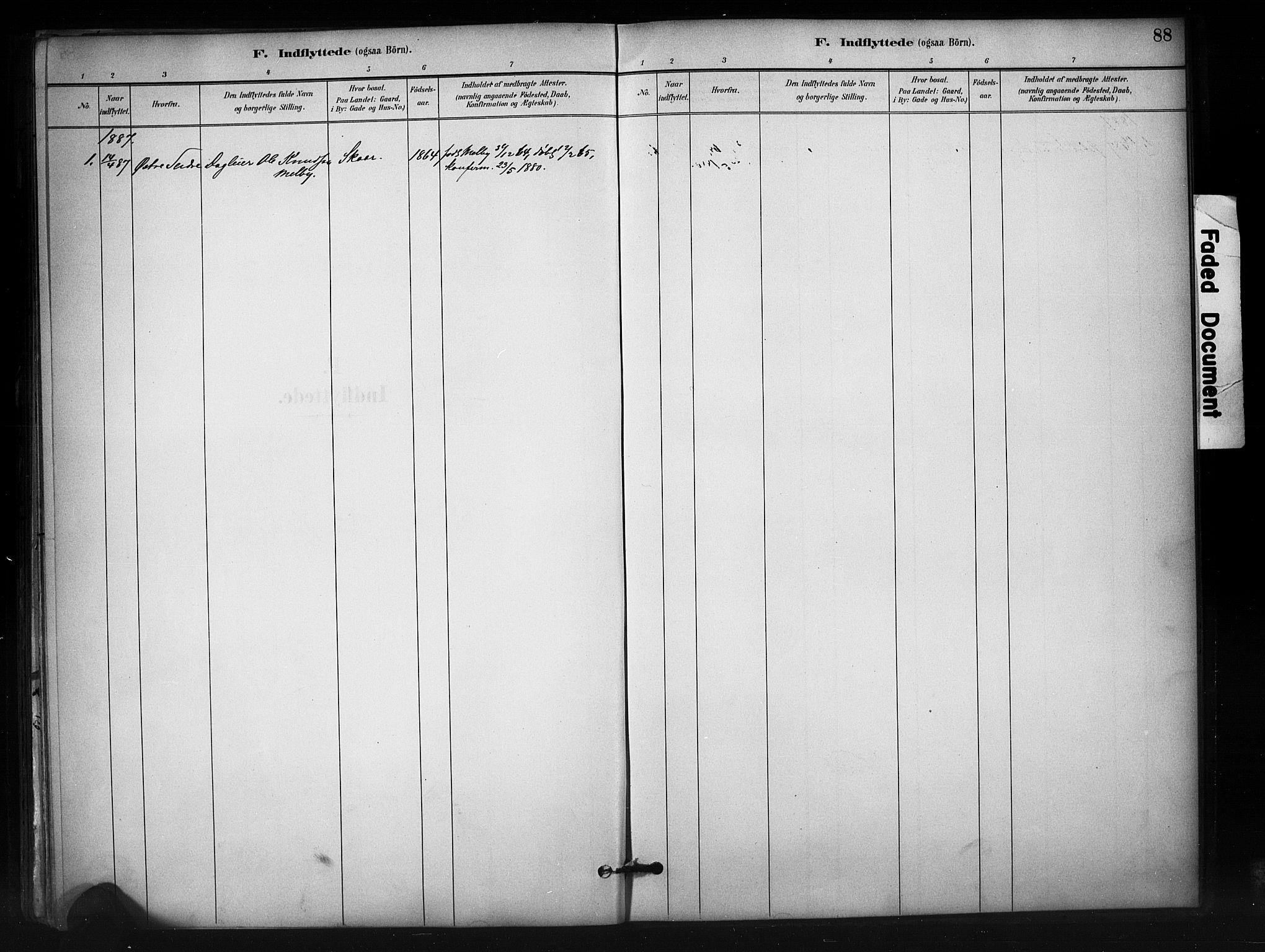 SAH, Nord-Aurdal prestekontor, Ministerialbok nr. 12, 1883-1895, s. 88