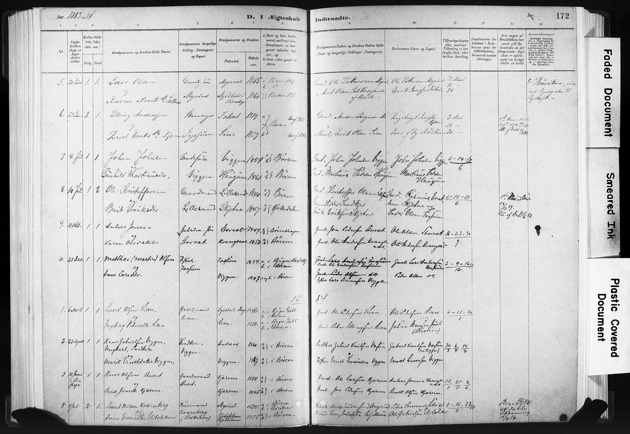 SAT, Ministerialprotokoller, klokkerbøker og fødselsregistre - Sør-Trøndelag, 665/L0773: Ministerialbok nr. 665A08, 1879-1905, s. 172