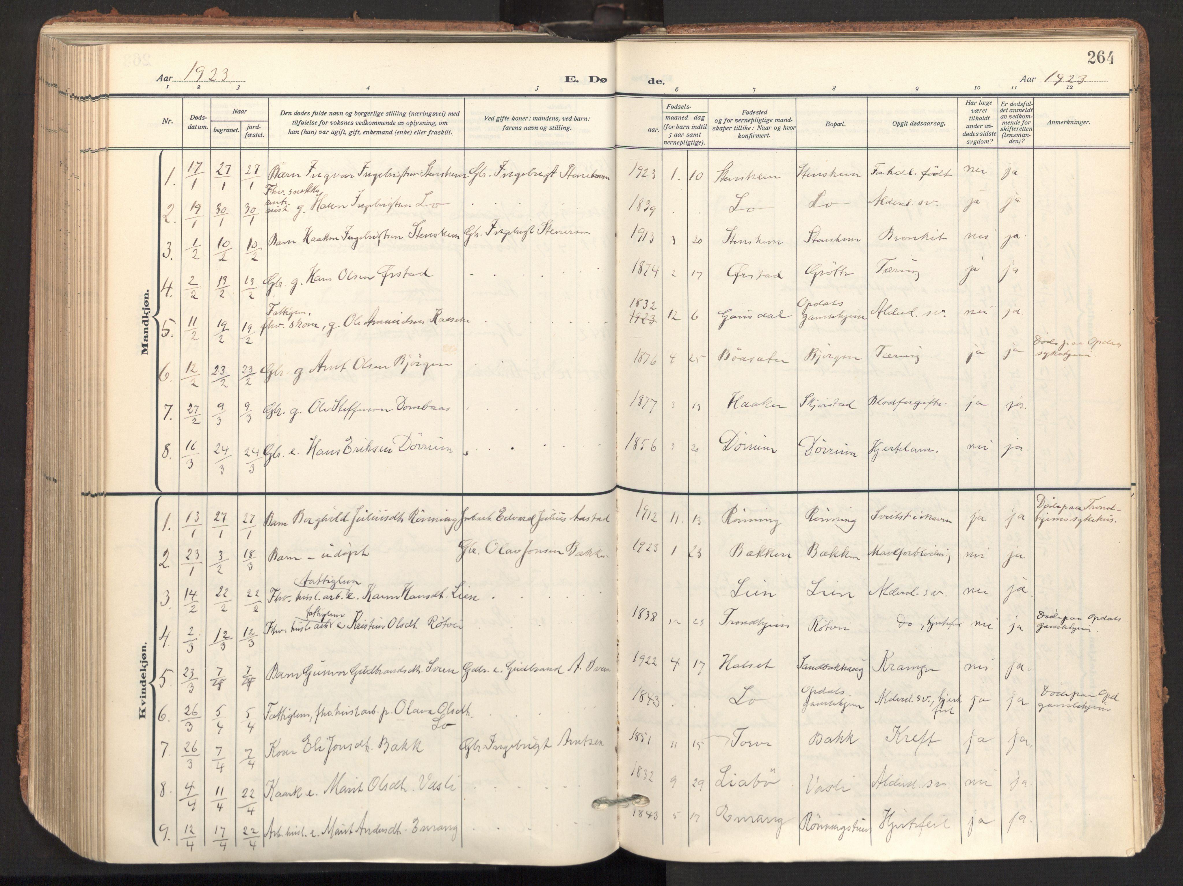 SAT, Ministerialprotokoller, klokkerbøker og fødselsregistre - Sør-Trøndelag, 678/L0909: Ministerialbok nr. 678A17, 1912-1930, s. 264