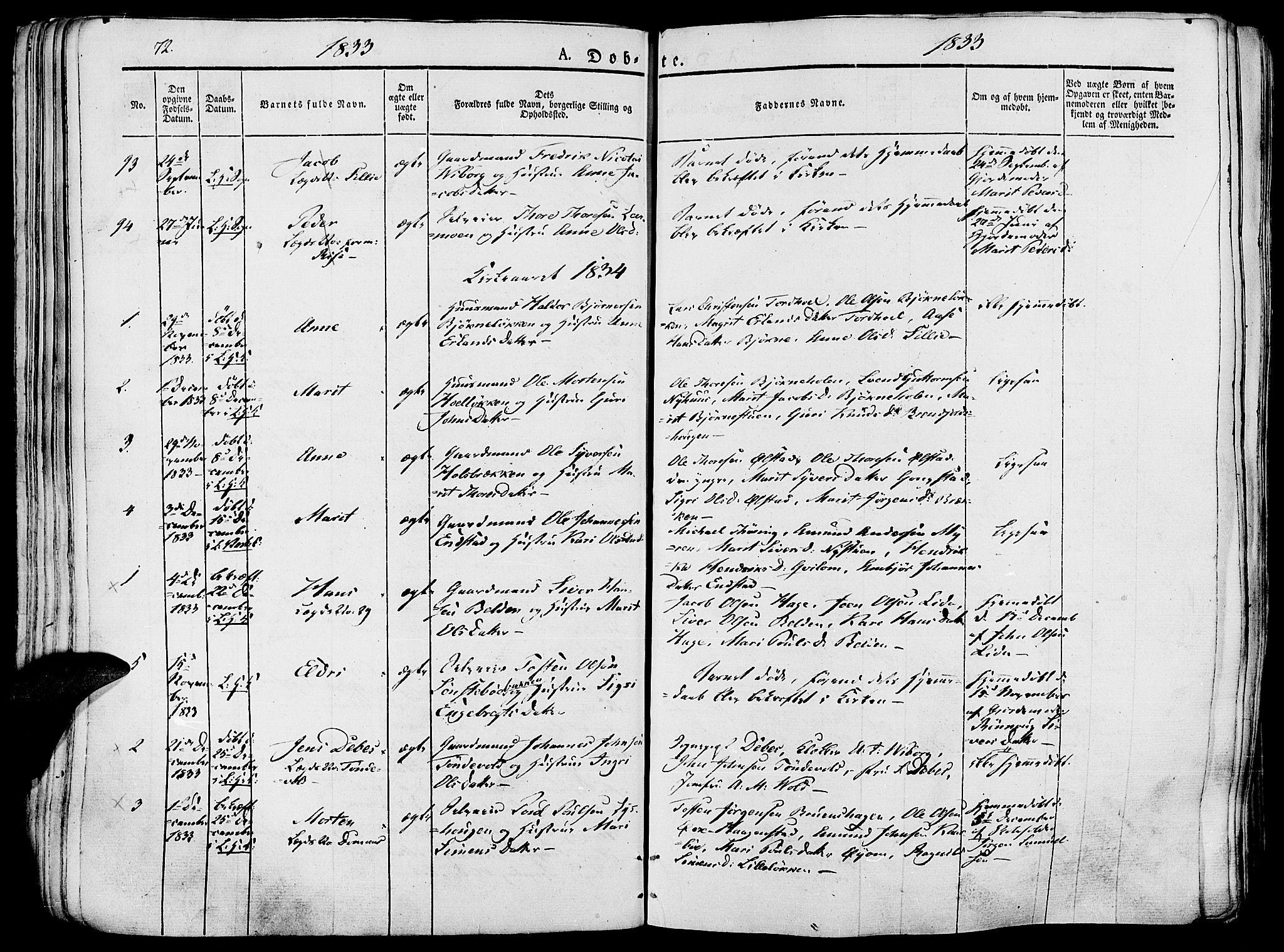 SAH, Lesja prestekontor, Ministerialbok nr. 5, 1830-1842, s. 72