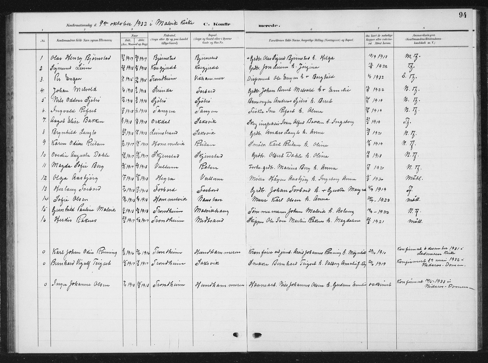 SAT, Ministerialprotokoller, klokkerbøker og fødselsregistre - Sør-Trøndelag, 616/L0424: Klokkerbok nr. 616C07, 1904-1940, s. 94