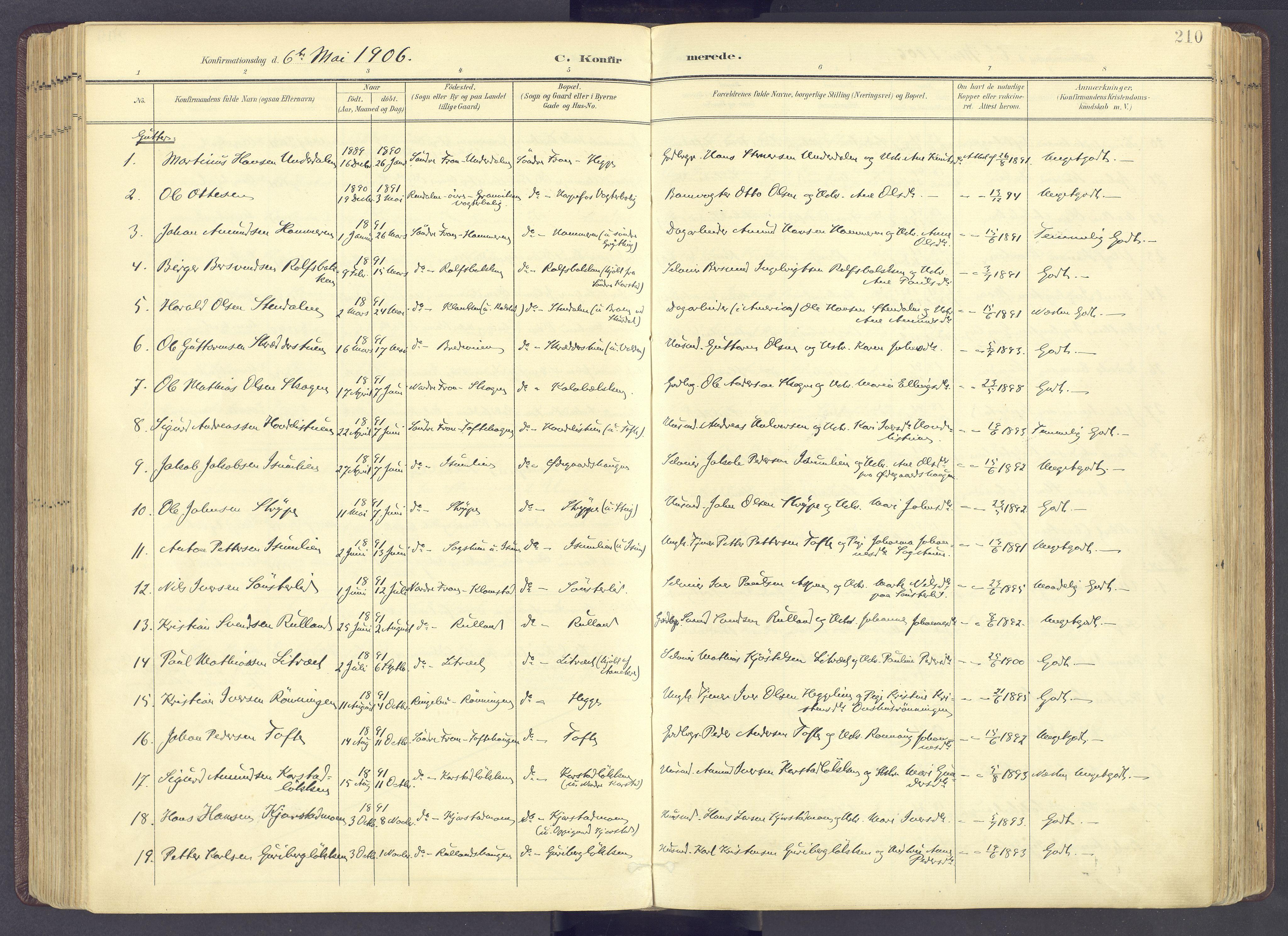 SAH, Sør-Fron prestekontor, H/Ha/Haa/L0004: Ministerialbok nr. 4, 1898-1919, s. 210