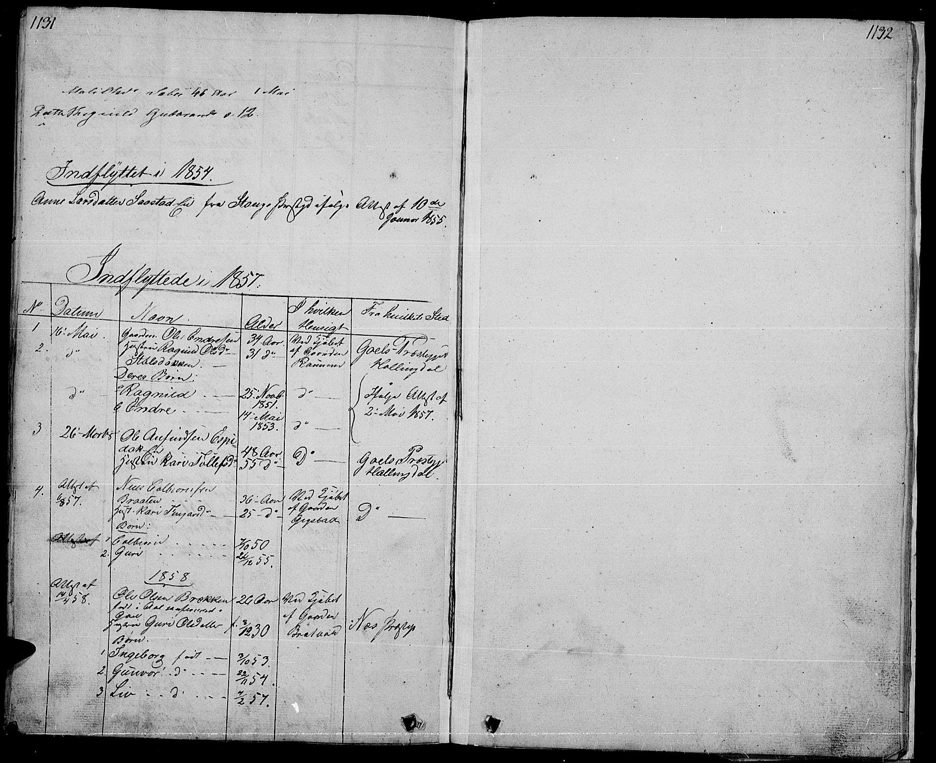 SAH, Nord-Aurdal prestekontor, Klokkerbok nr. 1, 1834-1887, s. 1131-1132
