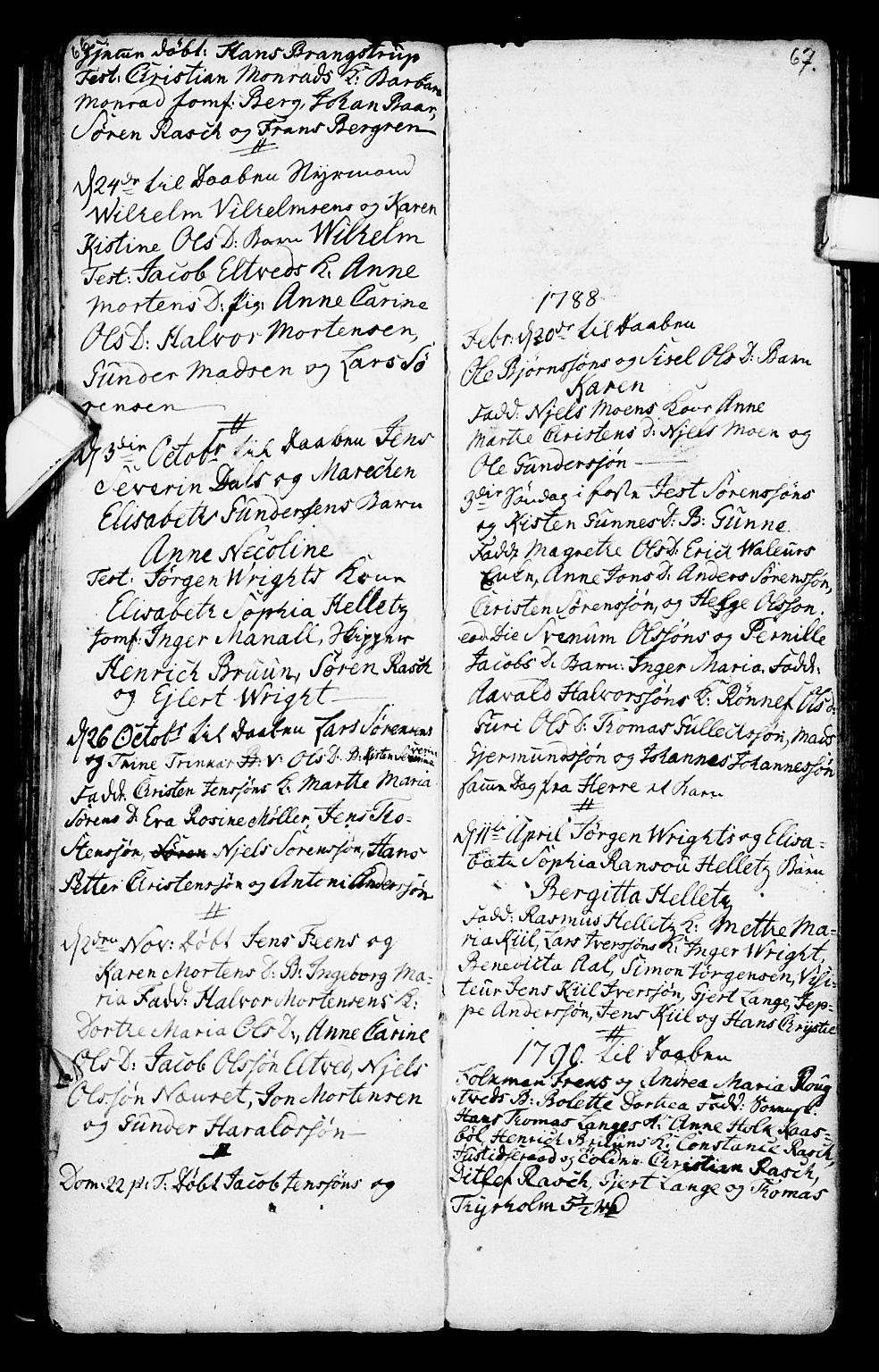SAKO, Porsgrunn kirkebøker , G/Ga/L0001: Klokkerbok nr. I 1, 1766-1790, s. 66-67