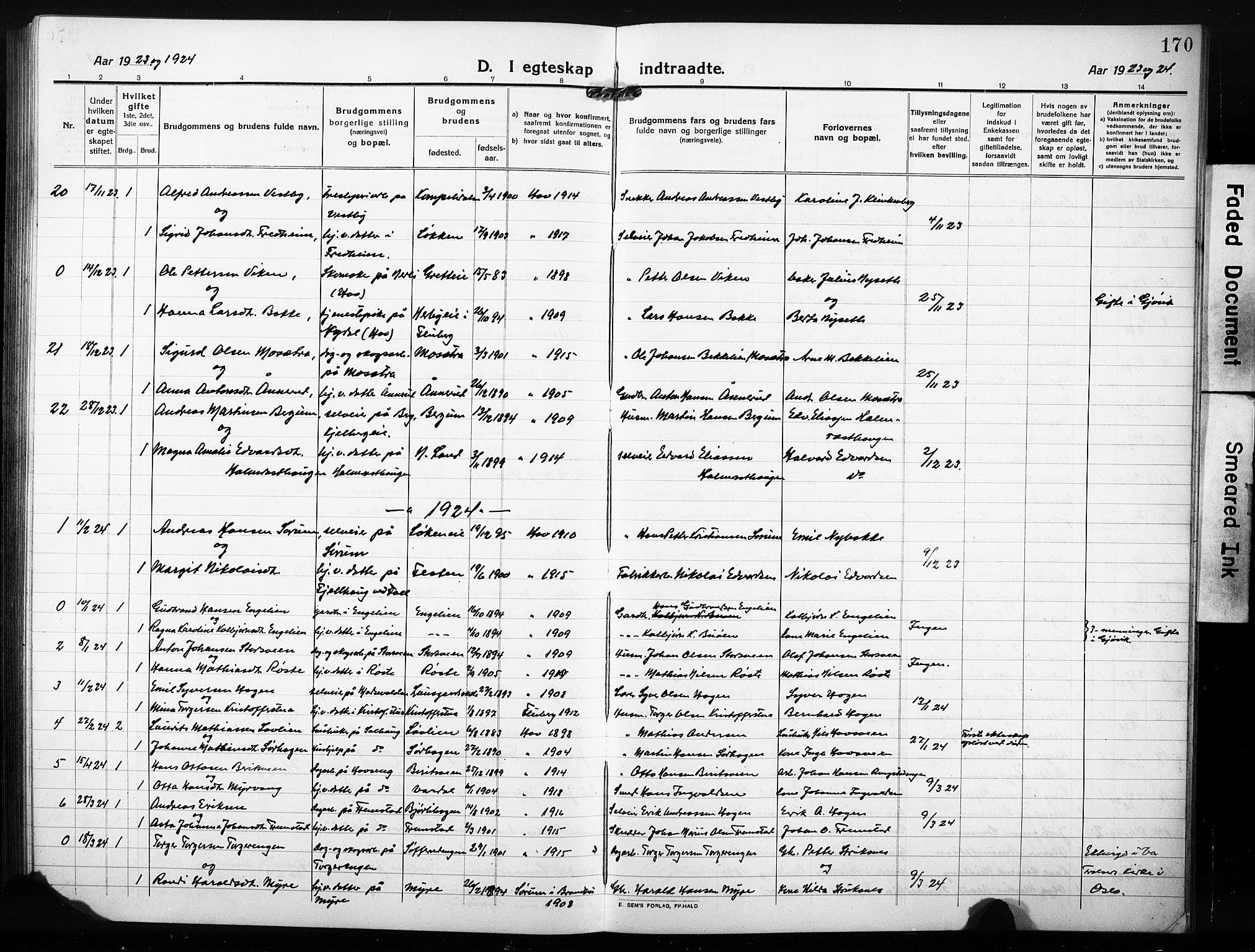 SAH, Søndre Land prestekontor, L/L0007: Klokkerbok nr. 7, 1915-1932, s. 170