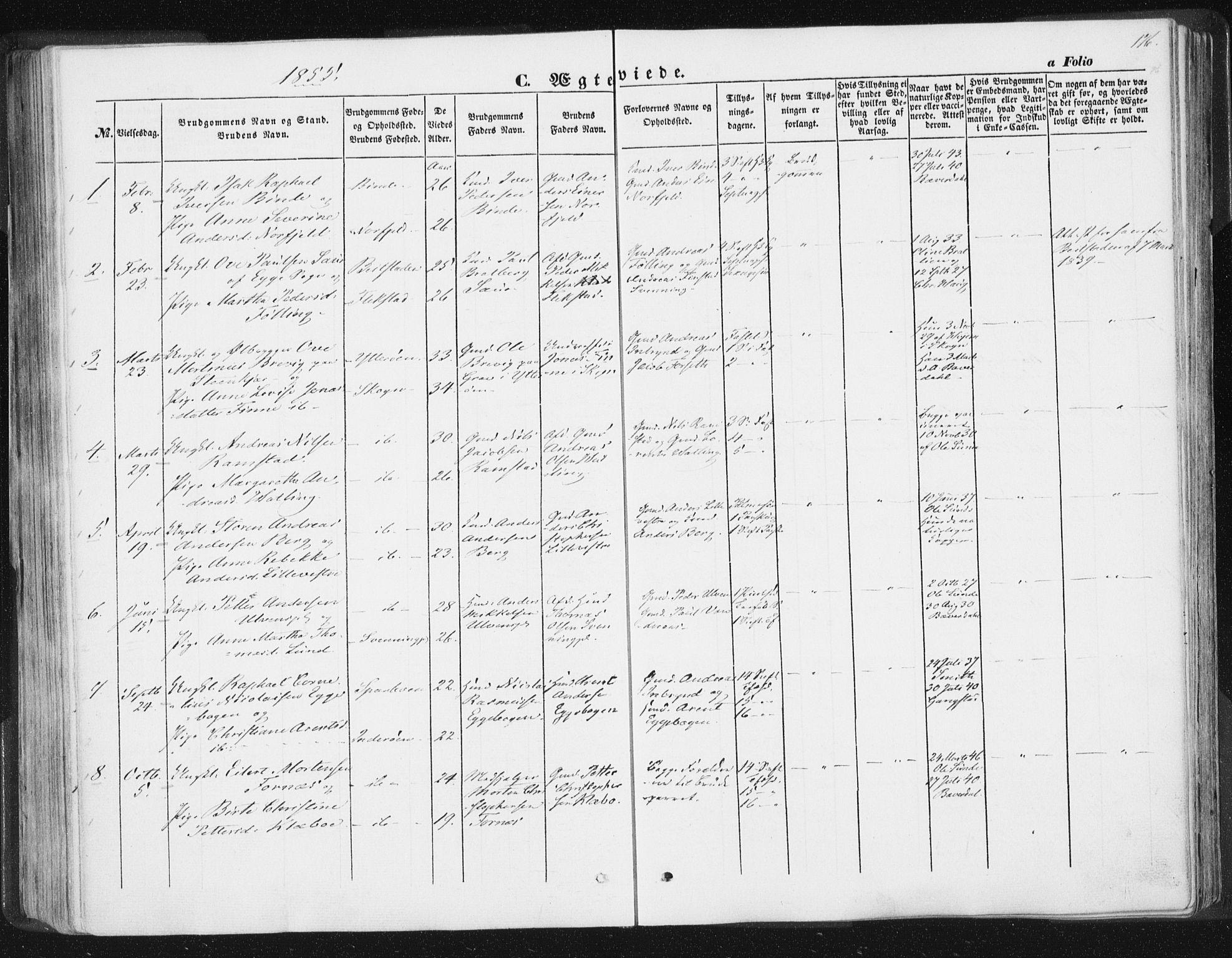 SAT, Ministerialprotokoller, klokkerbøker og fødselsregistre - Nord-Trøndelag, 746/L0446: Ministerialbok nr. 746A05, 1846-1859, s. 176