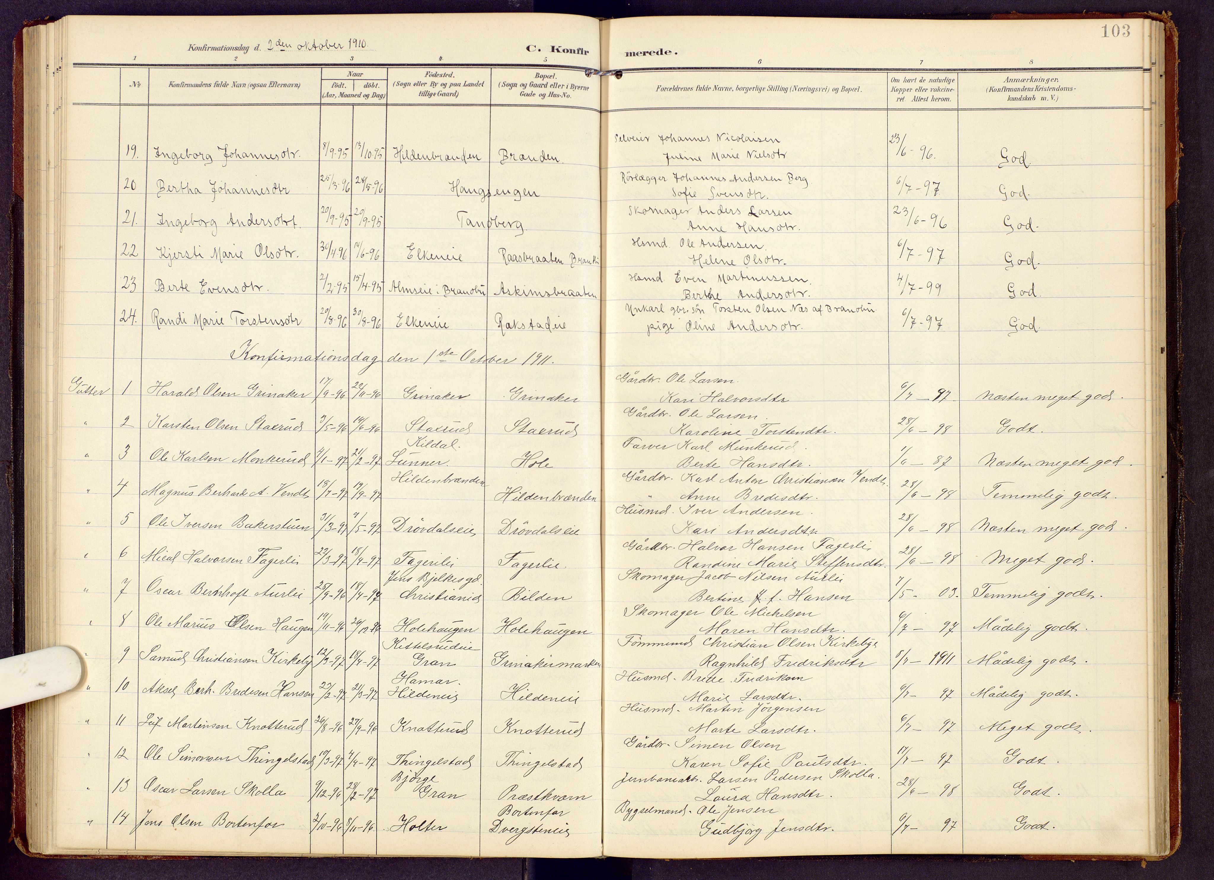 SAH, Brandbu prestekontor, Klokkerbok nr. 9, 1903-1916, s. 103