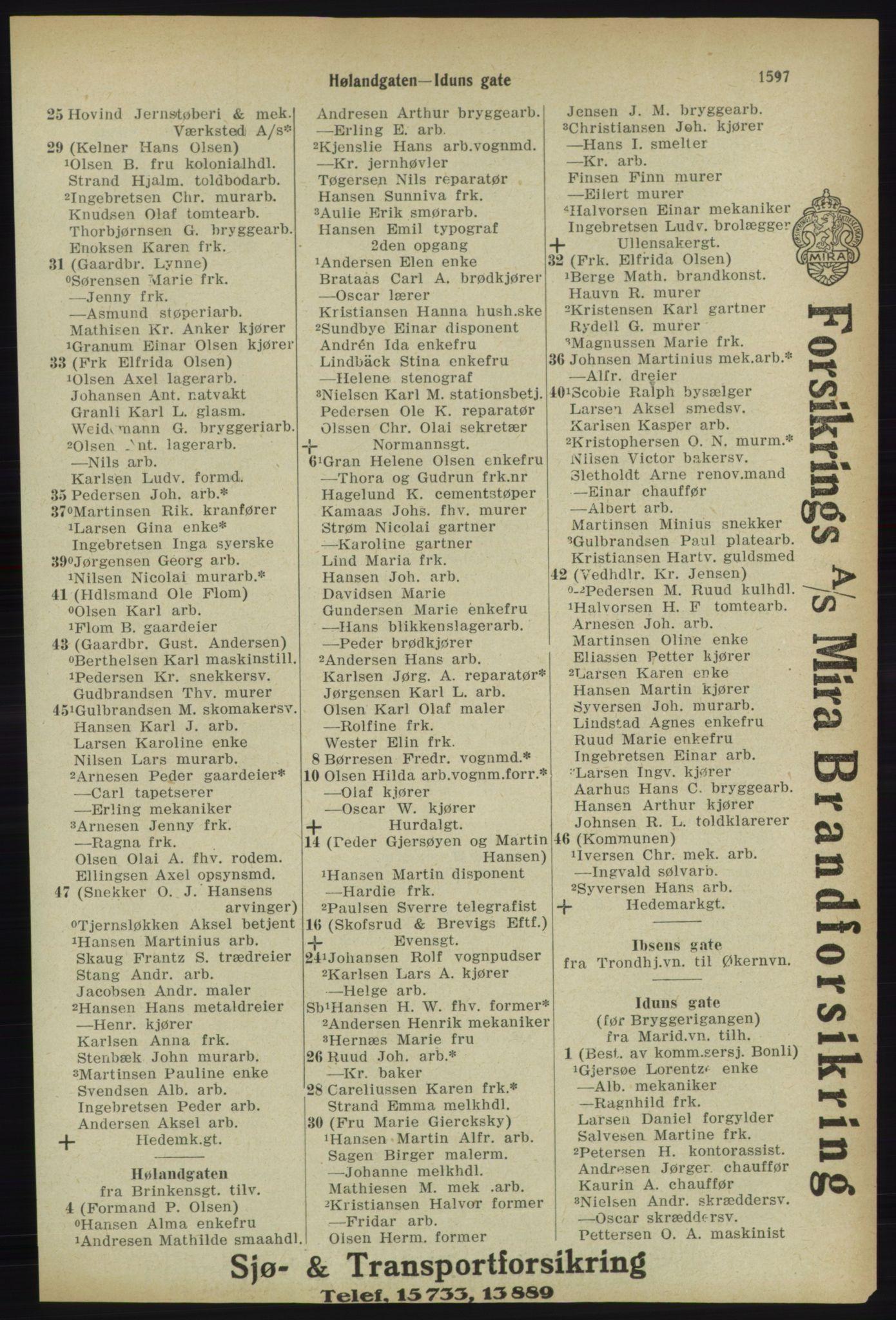 RA, Kristiania adressebok (publikasjon)*, 1918, s. 1597