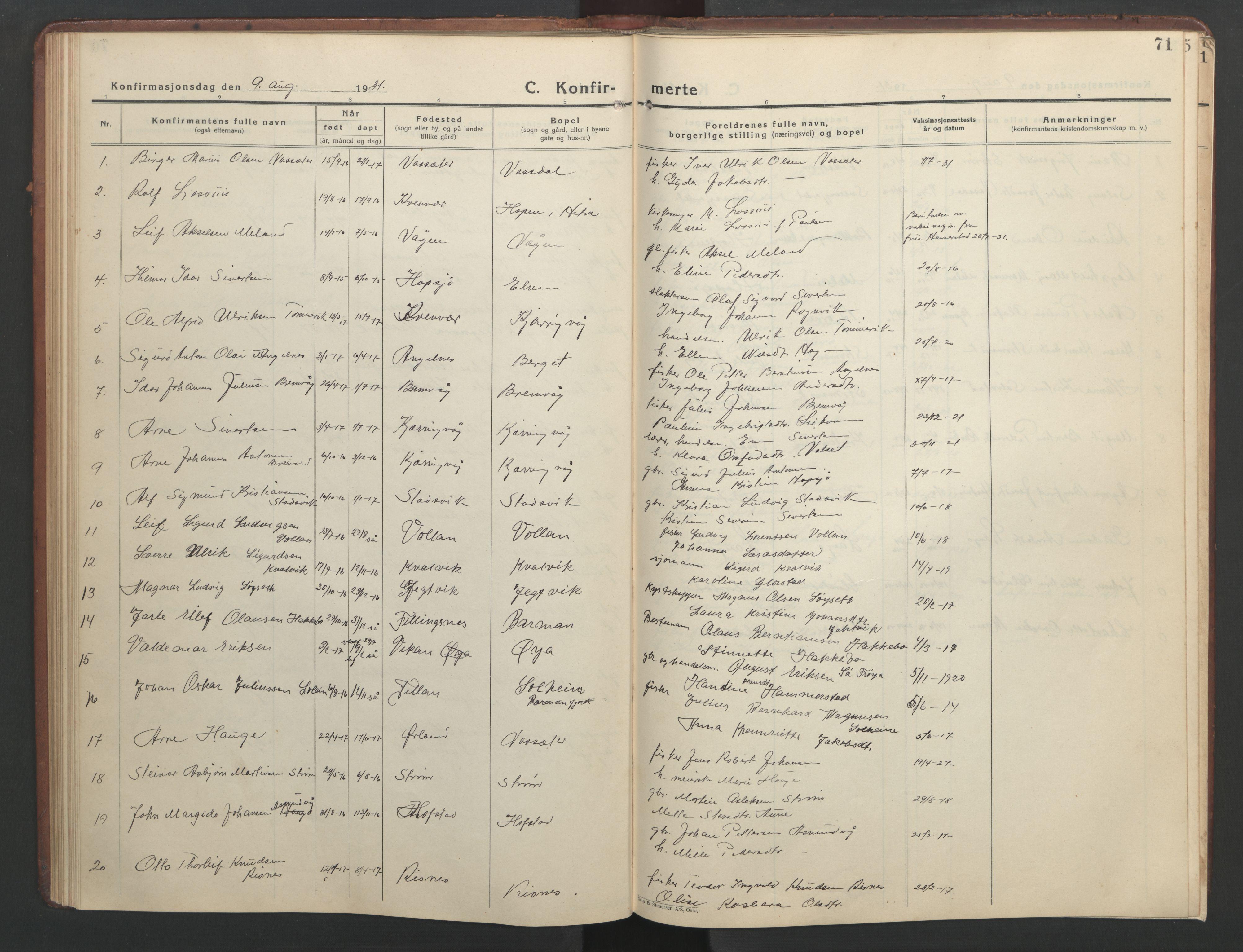 SAT, Ministerialprotokoller, klokkerbøker og fødselsregistre - Sør-Trøndelag, 634/L0544: Klokkerbok nr. 634C06, 1927-1948, s. 71