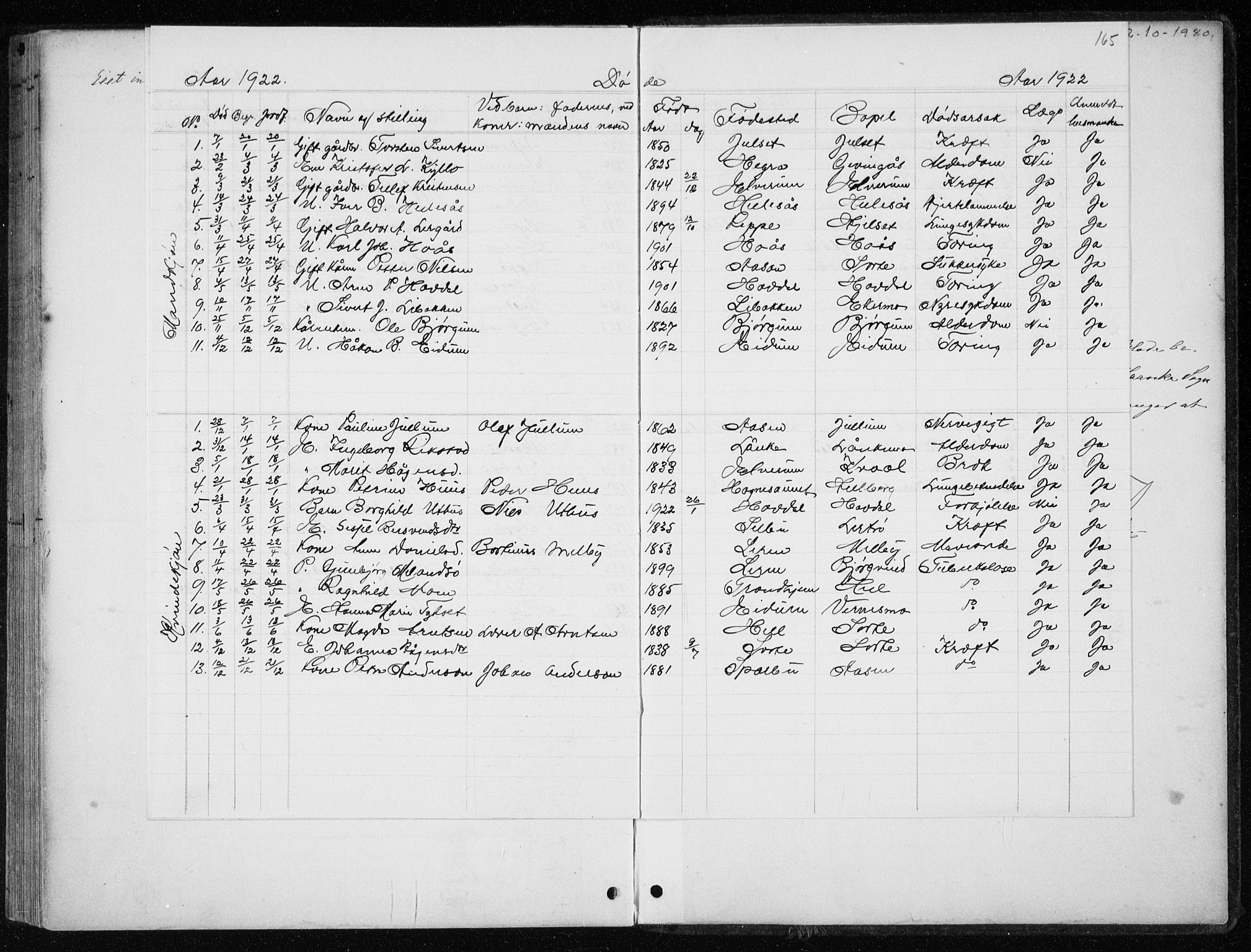 SAT, Ministerialprotokoller, klokkerbøker og fødselsregistre - Nord-Trøndelag, 710/L0096: Klokkerbok nr. 710C01, 1892-1925, s. 165