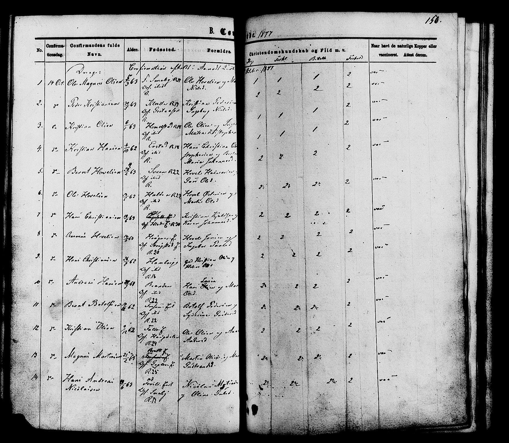 SAH, Nordre Land prestekontor, Ministerialbok nr. 2, 1872-1881, s. 156