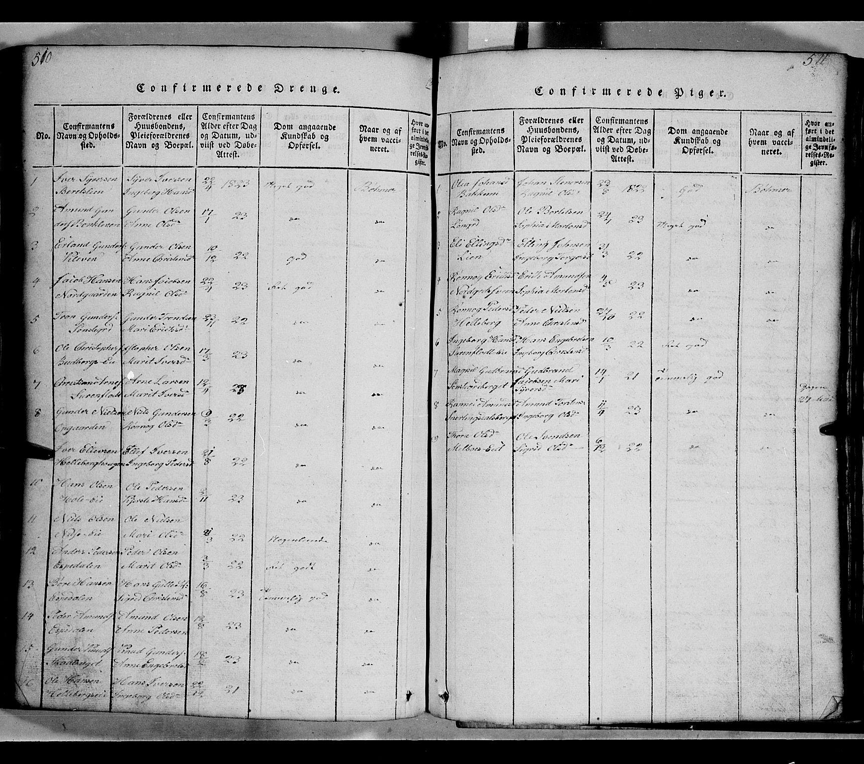 SAH, Gausdal prestekontor, Klokkerbok nr. 2, 1818-1874, s. 510-511