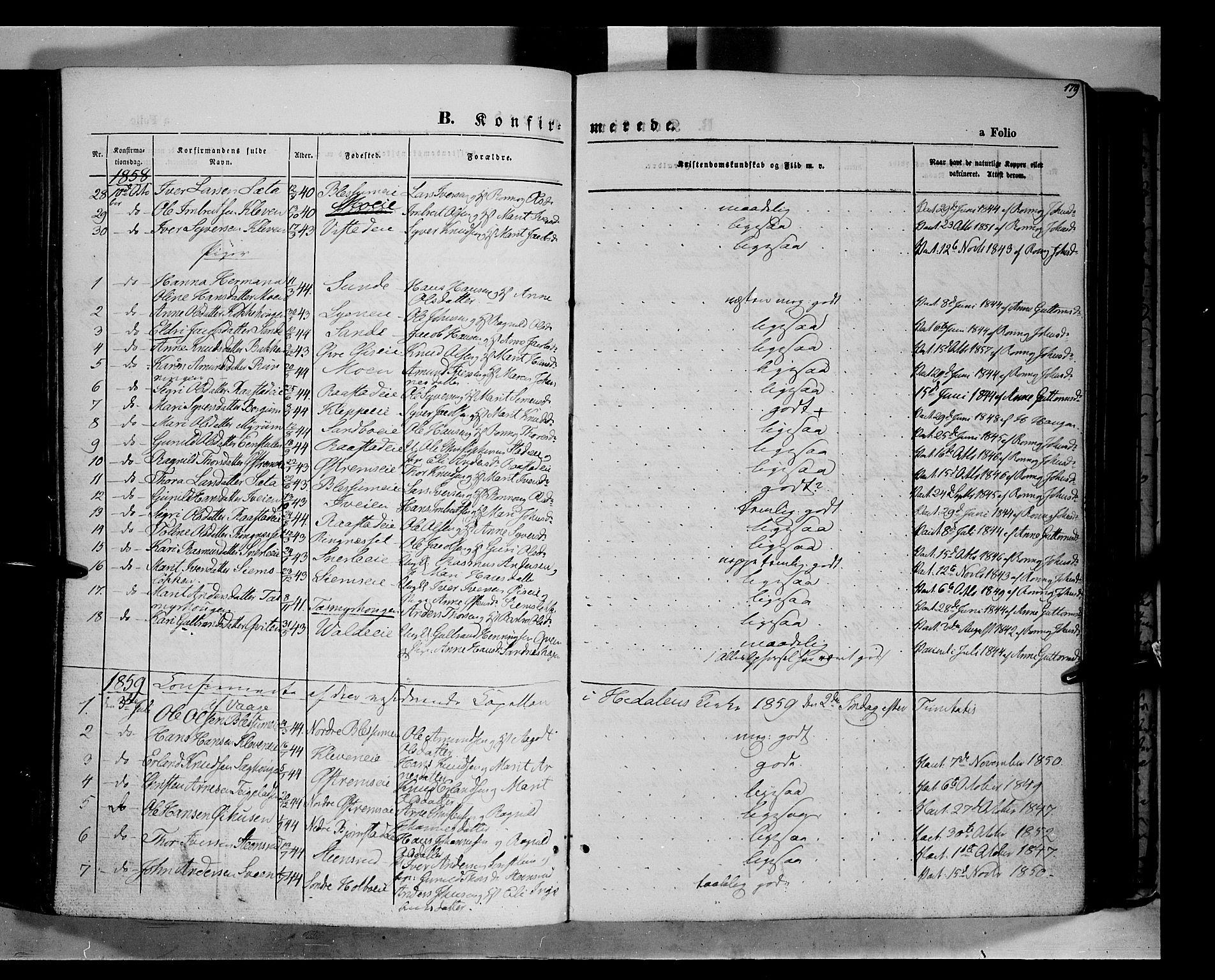 SAH, Vågå prestekontor, Ministerialbok nr. 6 /1, 1856-1872, s. 179