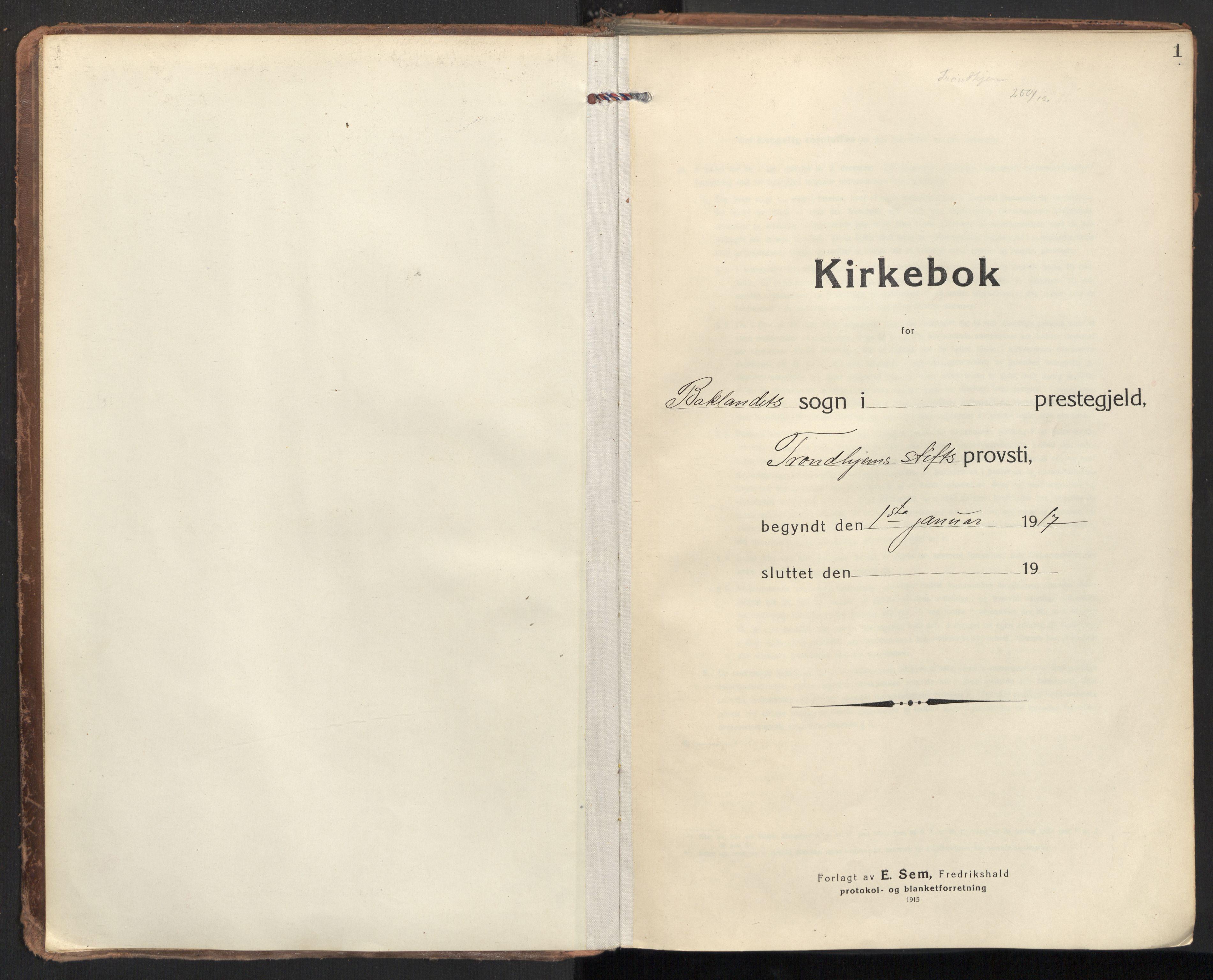 SAT, Ministerialprotokoller, klokkerbøker og fødselsregistre - Sør-Trøndelag, 604/L0207: Ministerialbok nr. 604A27, 1917-1933, s. 1