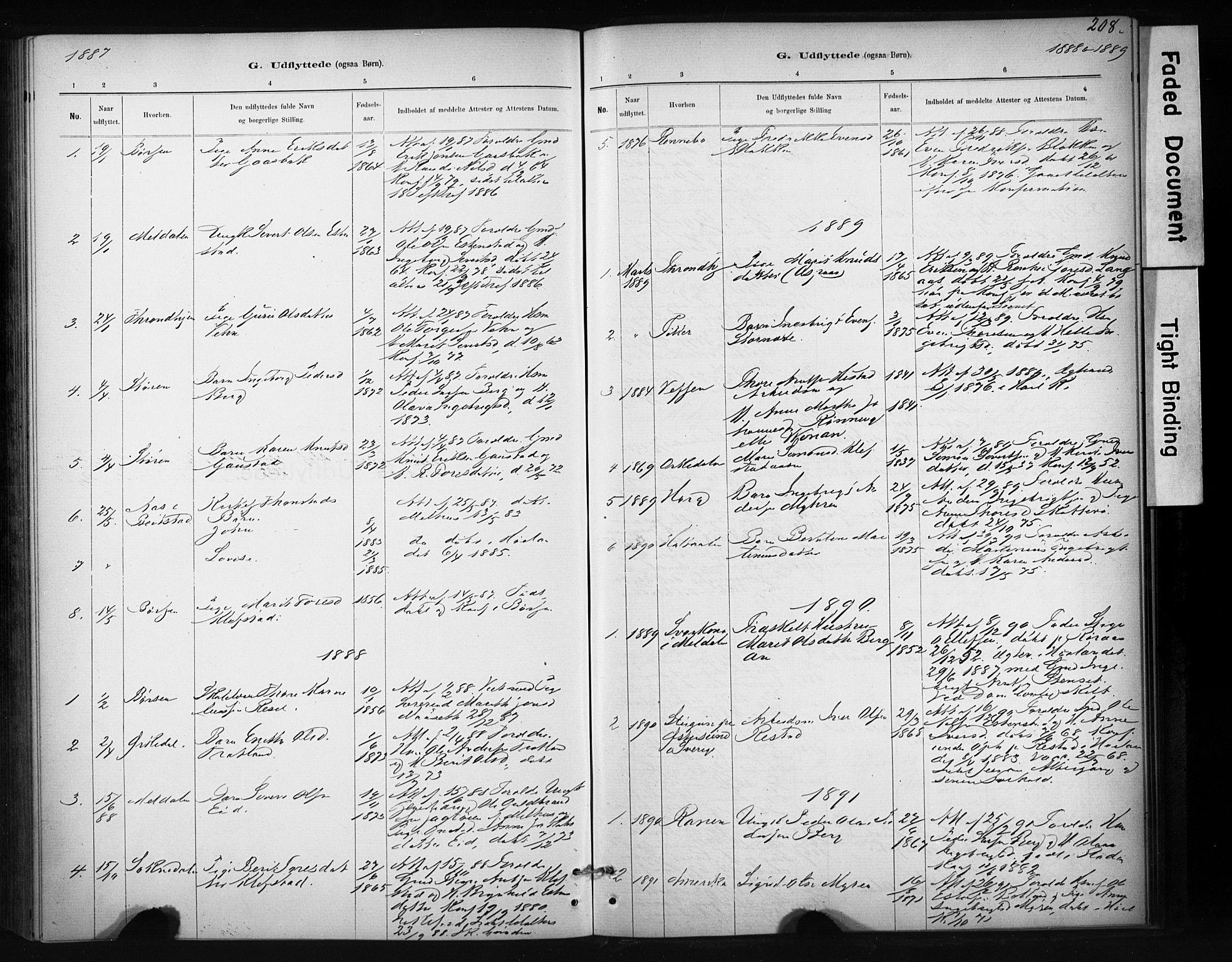 SAT, Ministerialprotokoller, klokkerbøker og fødselsregistre - Sør-Trøndelag, 694/L1127: Ministerialbok nr. 694A01, 1887-1905, s. 208