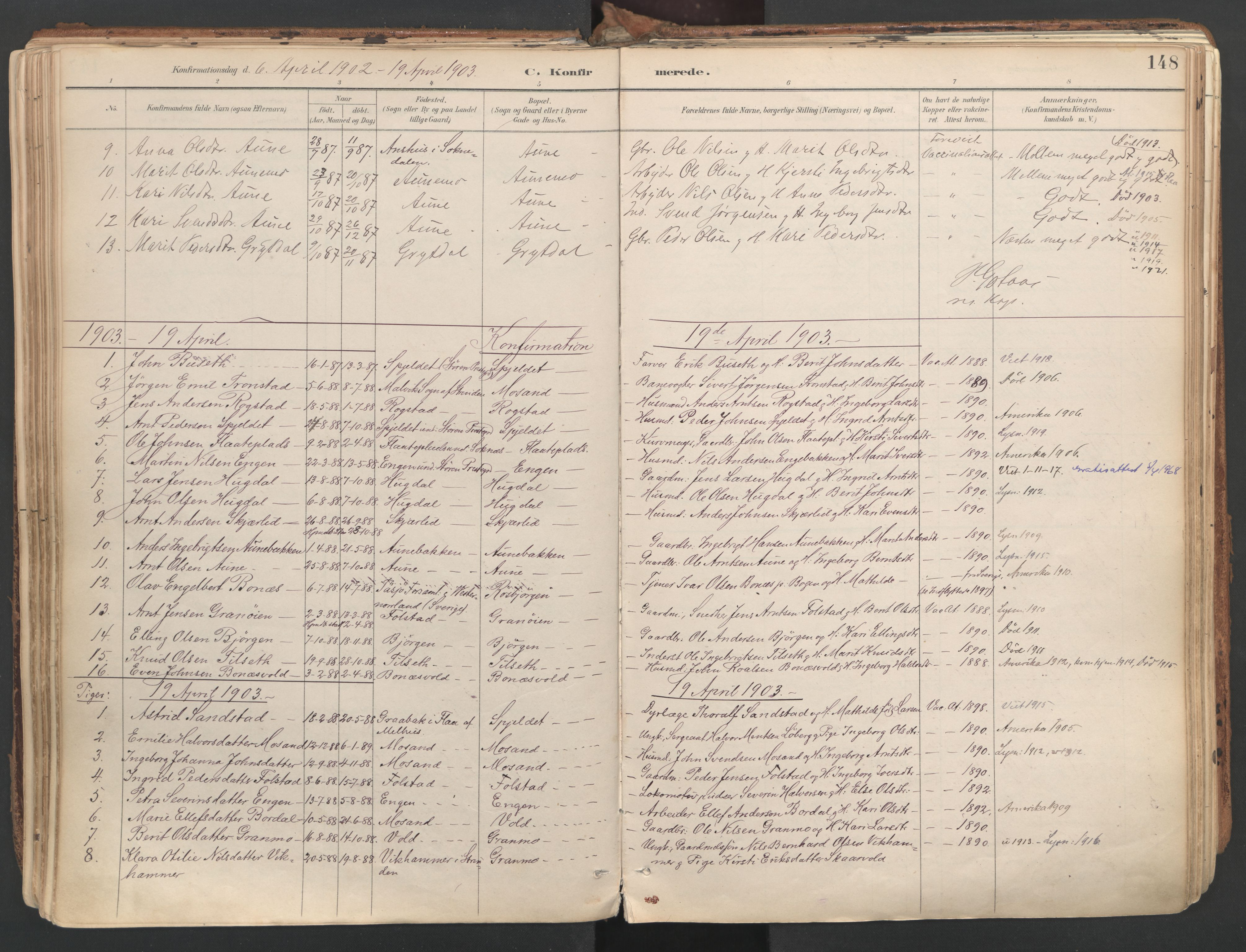 SAT, Ministerialprotokoller, klokkerbøker og fødselsregistre - Sør-Trøndelag, 687/L1004: Ministerialbok nr. 687A10, 1891-1923, s. 148