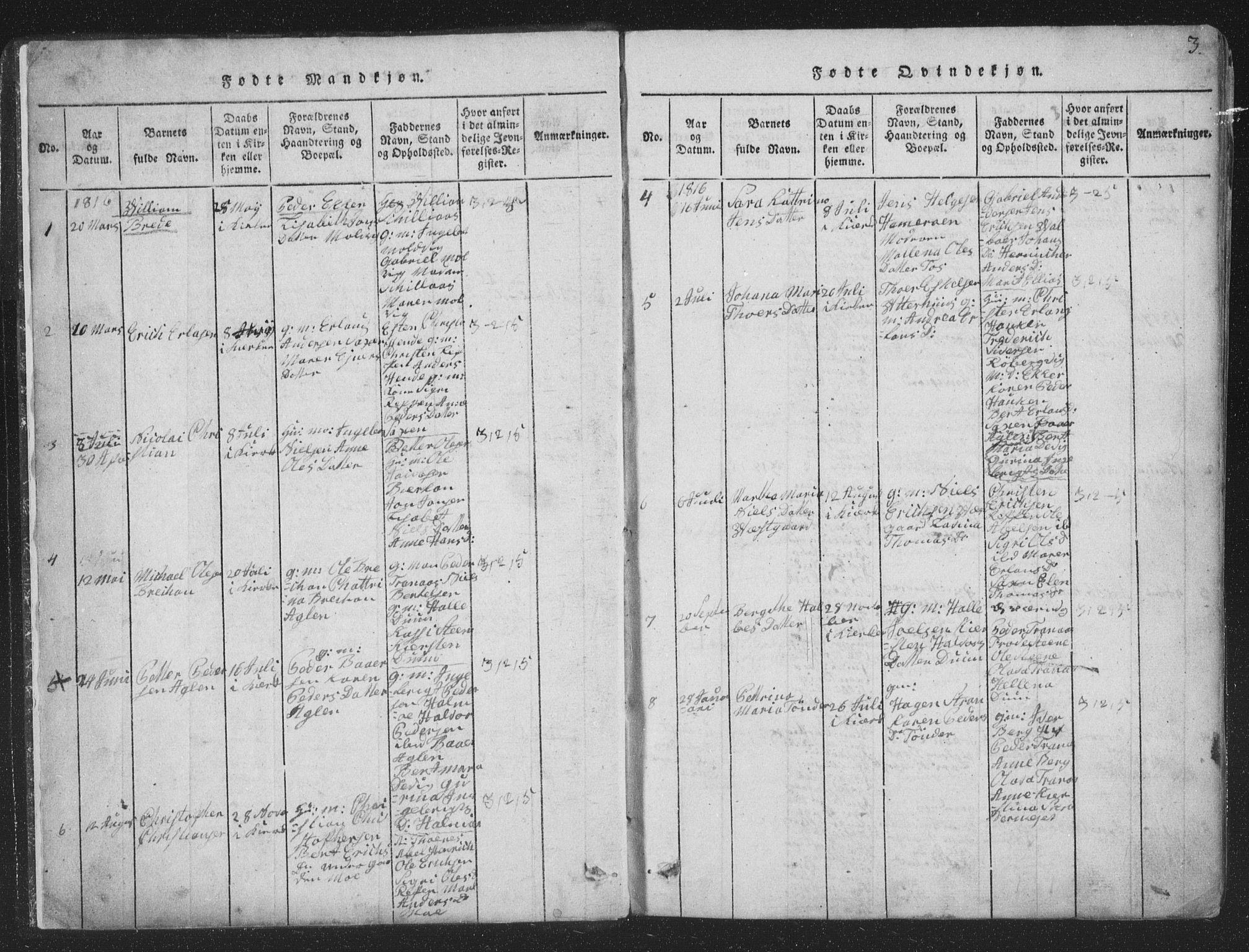 SAT, Ministerialprotokoller, klokkerbøker og fødselsregistre - Nord-Trøndelag, 773/L0613: Ministerialbok nr. 773A04, 1815-1845, s. 3