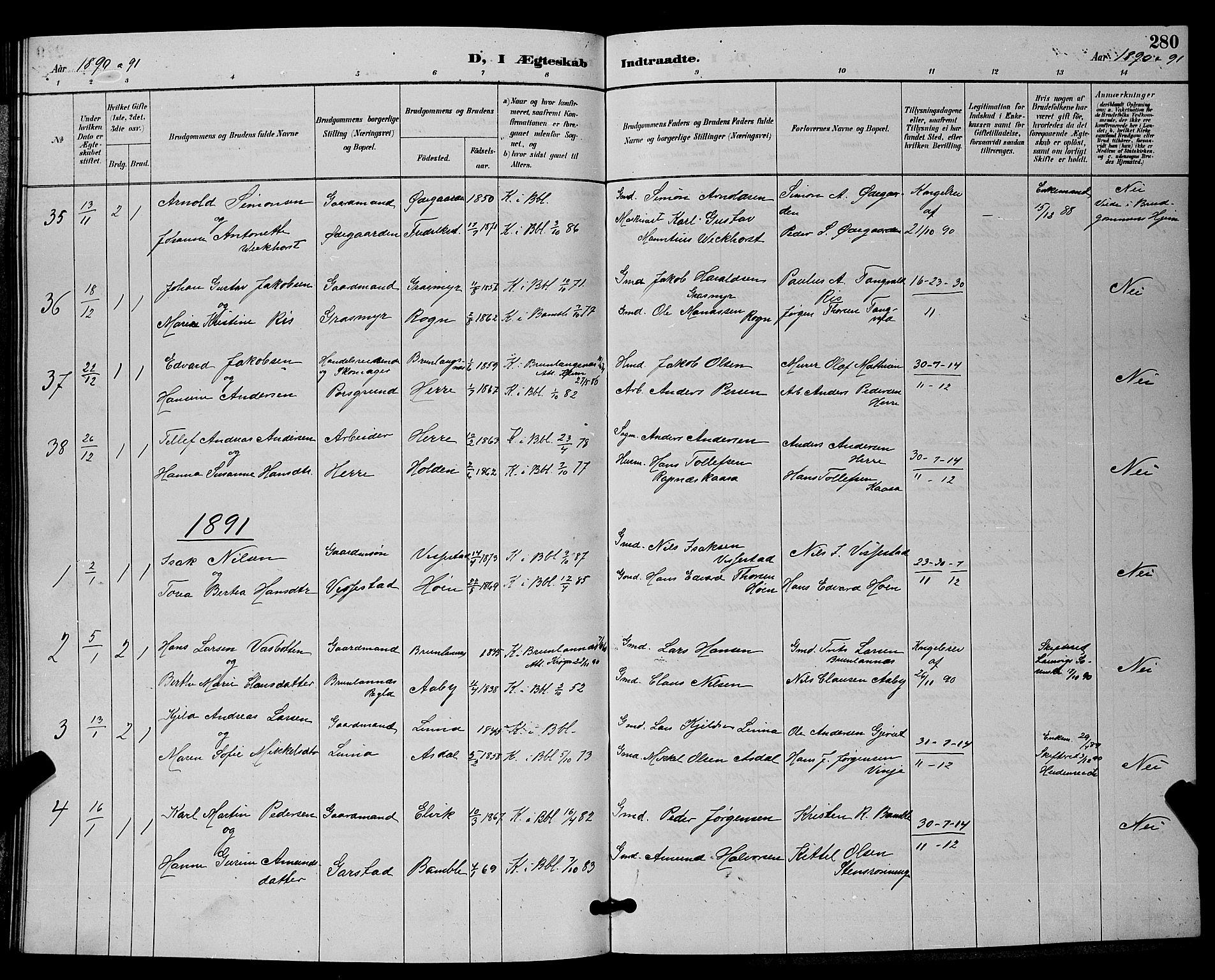 SAKO, Bamble kirkebøker, G/Ga/L0009: Klokkerbok nr. I 9, 1888-1900, s. 280
